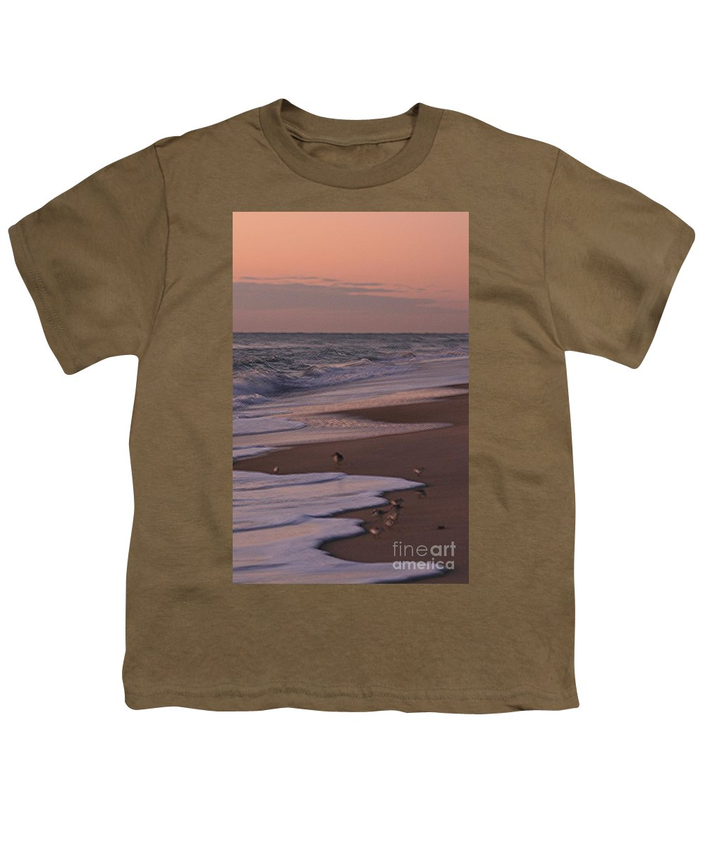 Beach Youth T-Shirt featuring the photograph Morning Birds At The Beach by Nadine Rippelmeyer