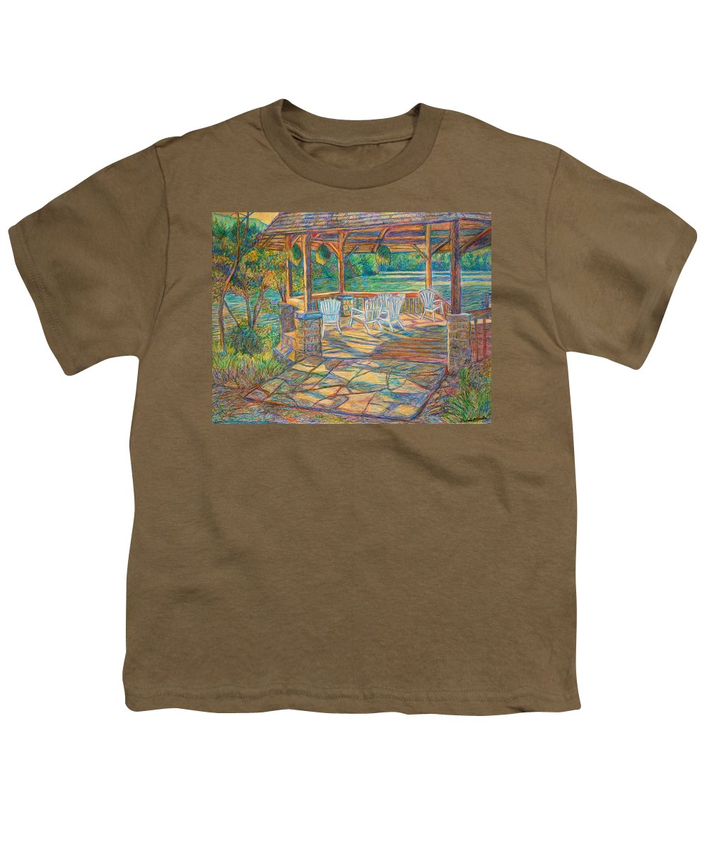 Lake Youth T-Shirt featuring the painting Mountain Lake Shadows by Kendall Kessler