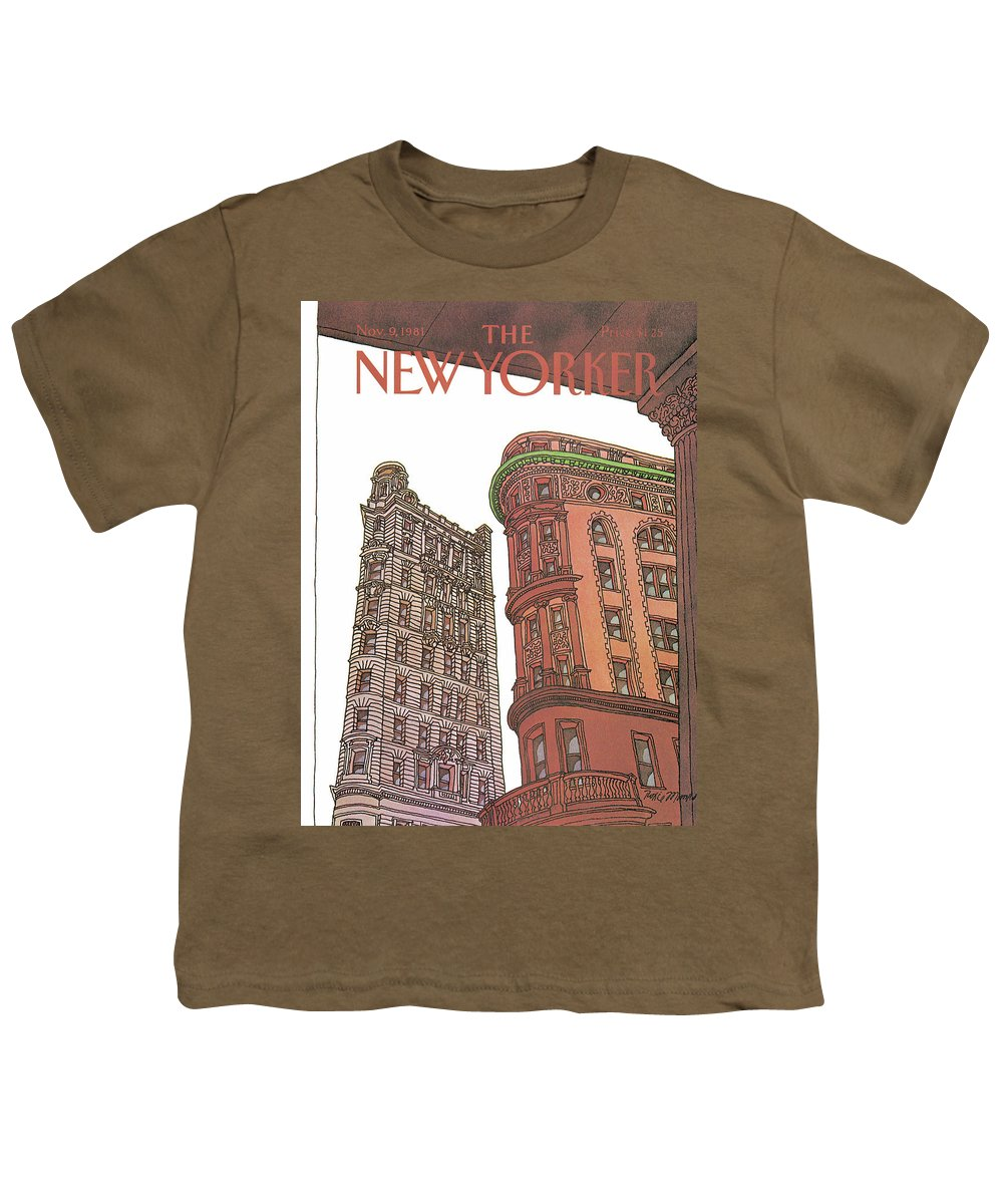 Business Offices Youth T-Shirt featuring the painting New Yorker November 9th, 1981 by Roxie Munro