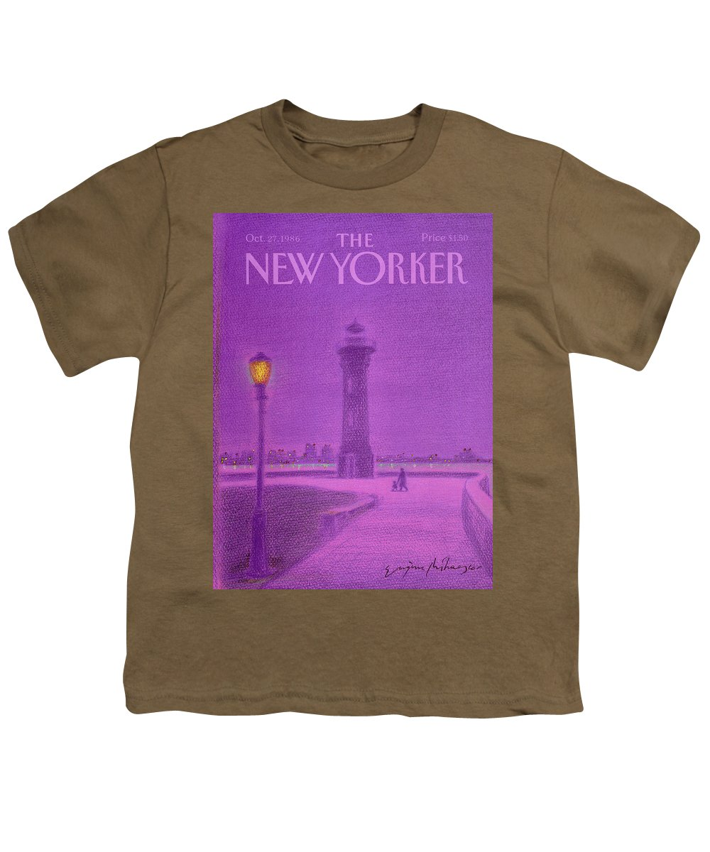 Lighthouse Youth T-Shirt featuring the painting New Yorker October 27th, 1986 by Eugene Mihaesco