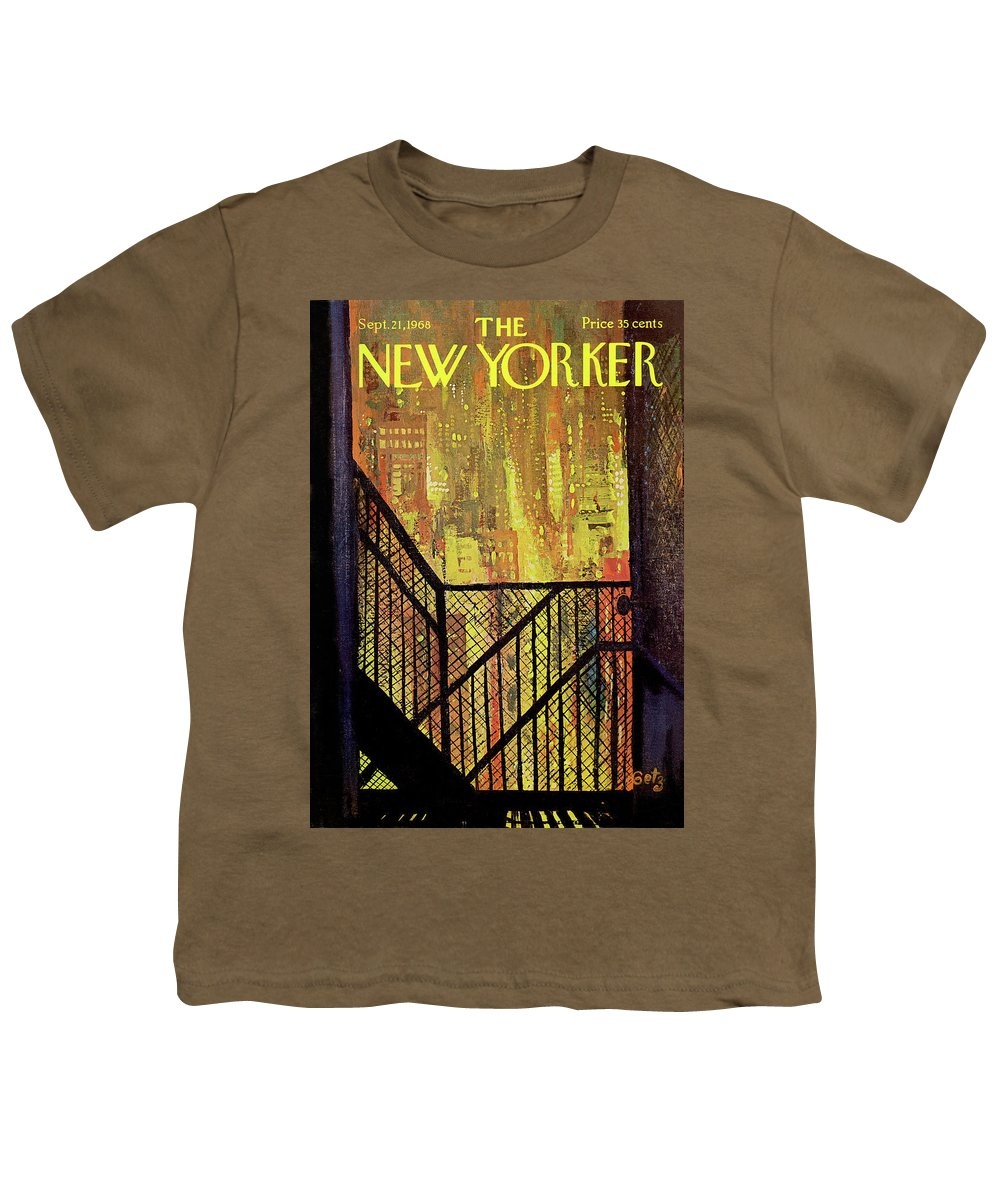 Arthur Getz Agt Youth T-Shirt featuring the painting New Yorker September 21st, 1968 by Arthur Getz