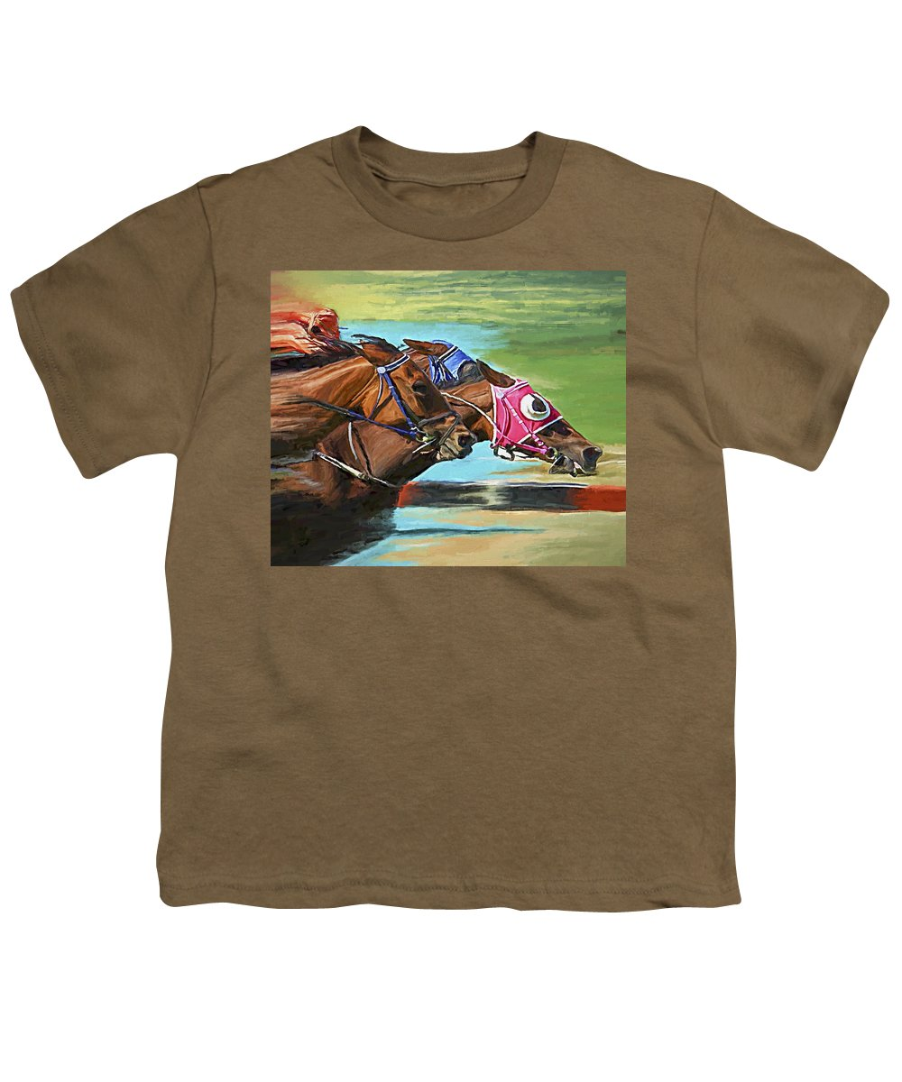 Horses Youth T-Shirt featuring the painting Nikita By A Head by David Wagner