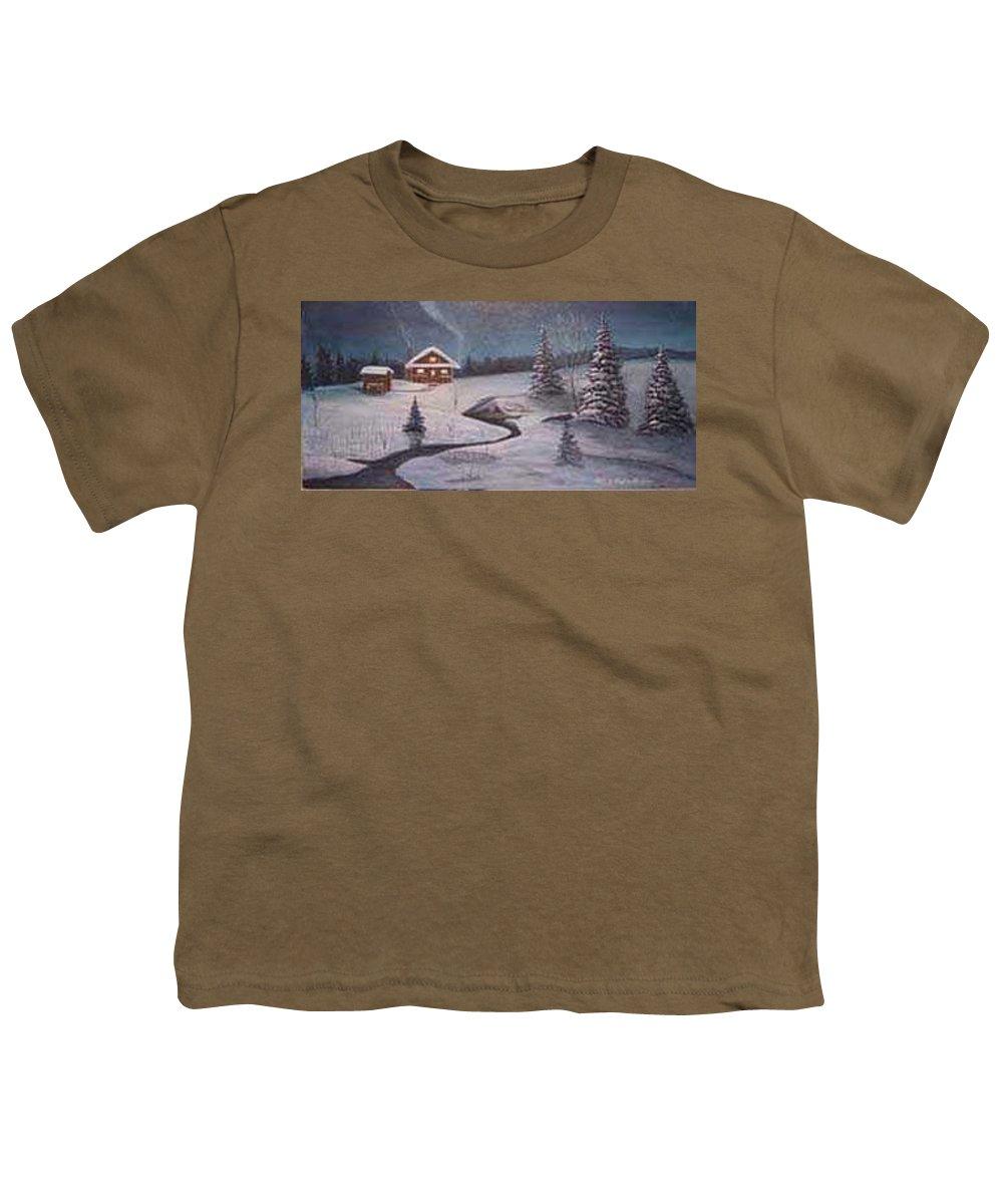 Rick Huotari Youth T-Shirt featuring the painting North Woods Cabin by Rick Huotari