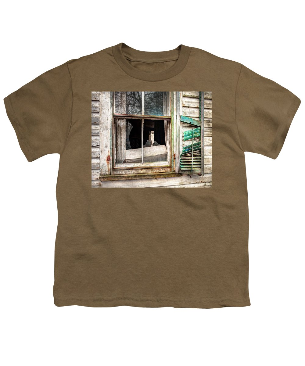 Old Broken Window And Shutter Of An Abandoned House Youth T Shirt