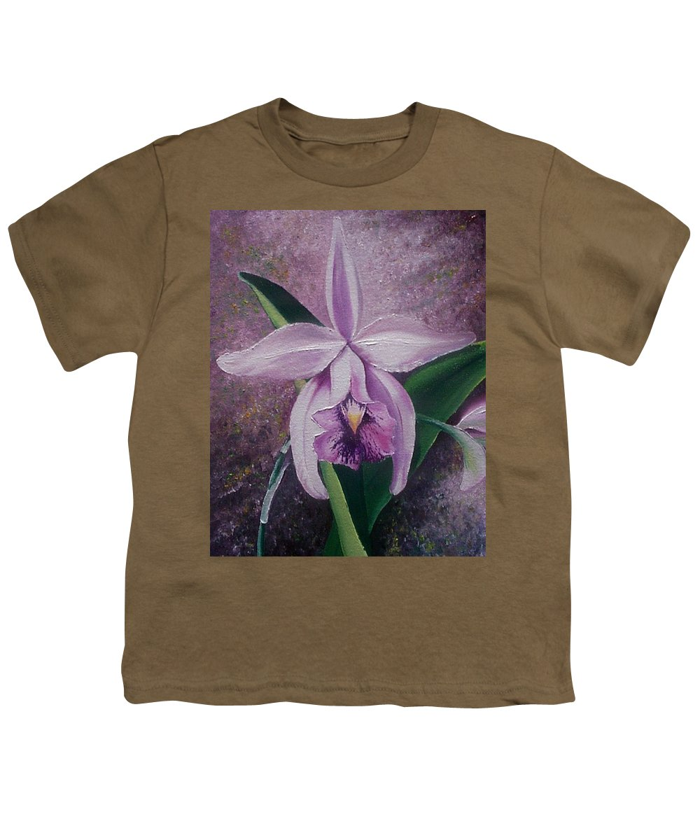Orchid Purple Floral Botanical Youth T-Shirt featuring the painting Orchid Lalia by Karin Dawn Kelshall- Best