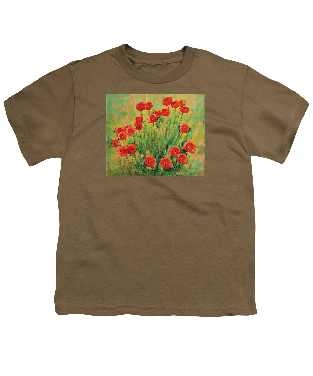 Poppies Youth T-Shirt featuring the painting Poppies by Iliyan Bozhanov