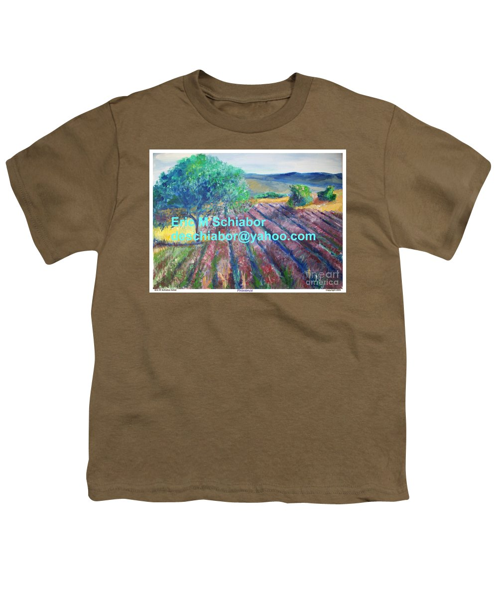 The Actor Youth T-Shirt featuring the painting Provence Lavender Field by Eric Schiabor