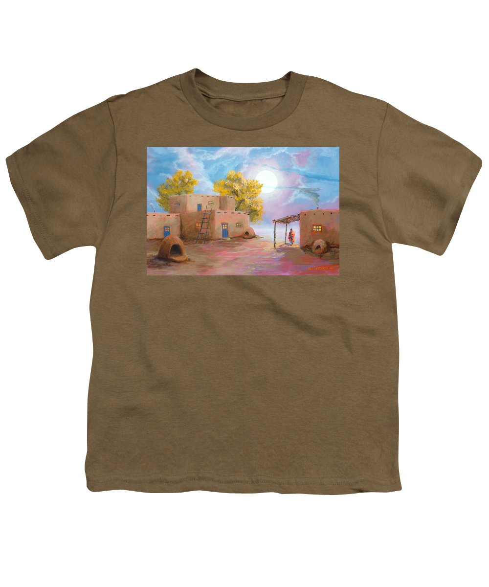 Pueblo Youth T-Shirt featuring the painting Pueblo De Las Lunas by Jerry McElroy