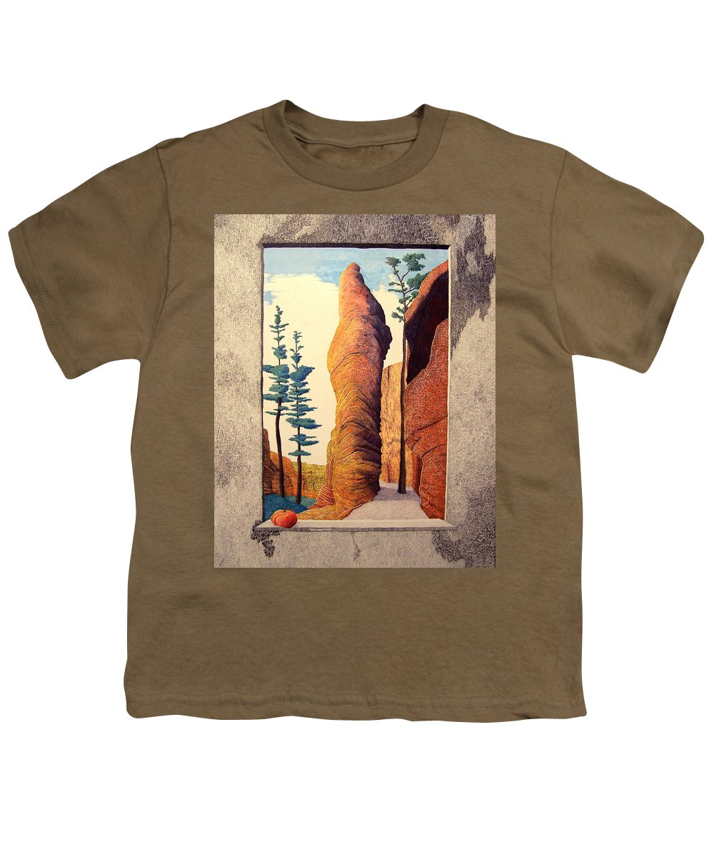 Landscape Youth T-Shirt featuring the painting Reared Window by A Robert Malcom