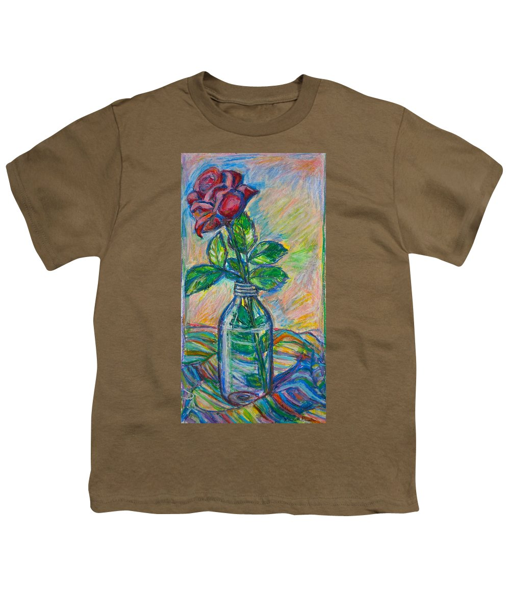 Still Life Youth T-Shirt featuring the painting Rose In A Bottle by Kendall Kessler