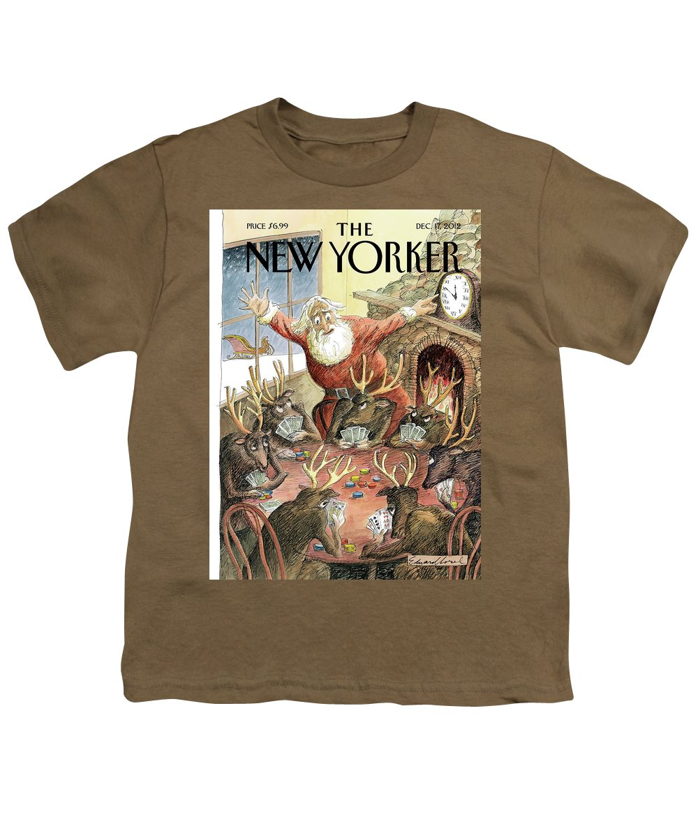 Santa Youth T-Shirt featuring the painting Santa Claus Rushed To Get His Reindeer Ready by Edward Sorel