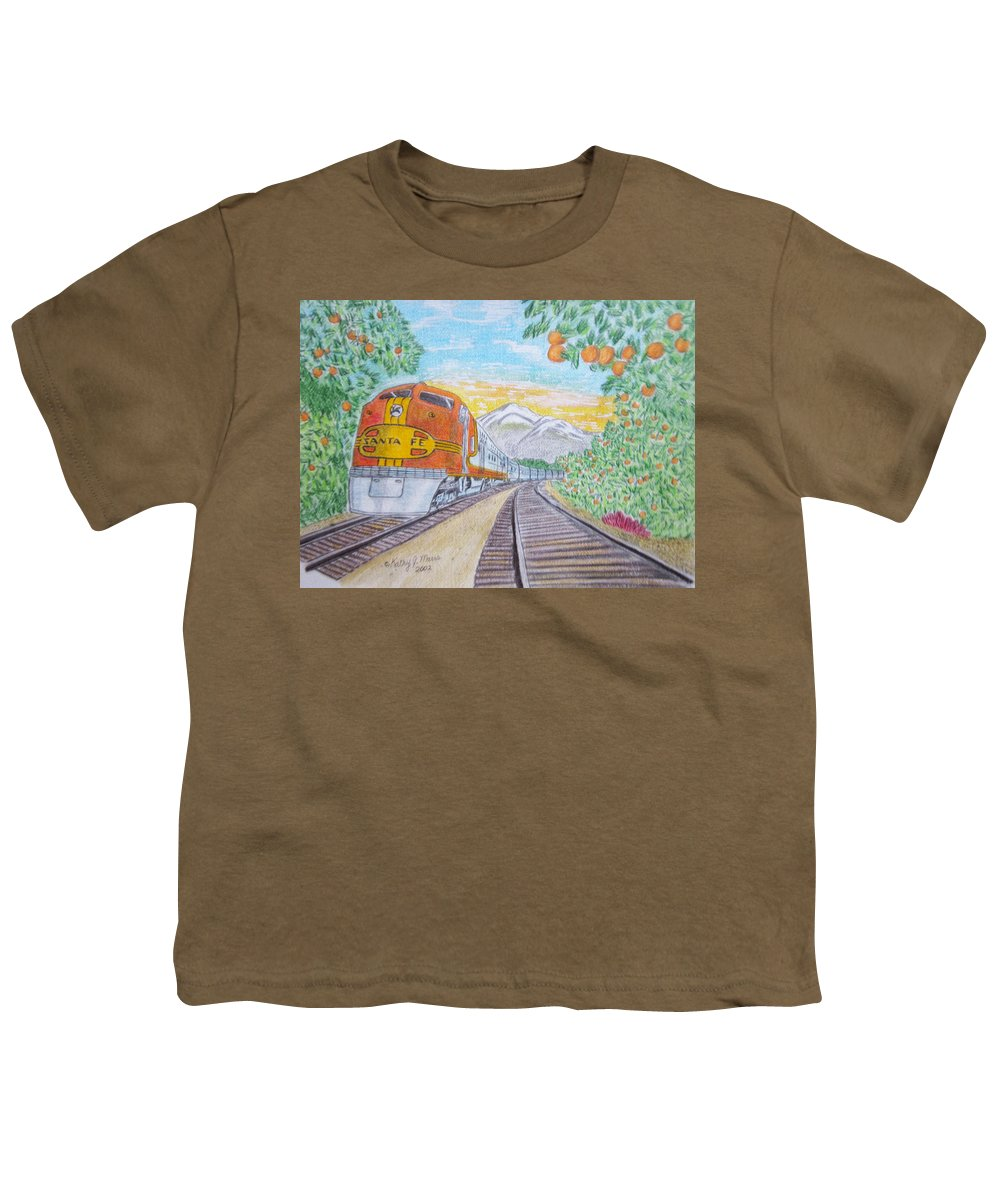 Santa Fe Youth T-Shirt featuring the painting Santa Fe Super Chief Train by Kathy Marrs Chandler
