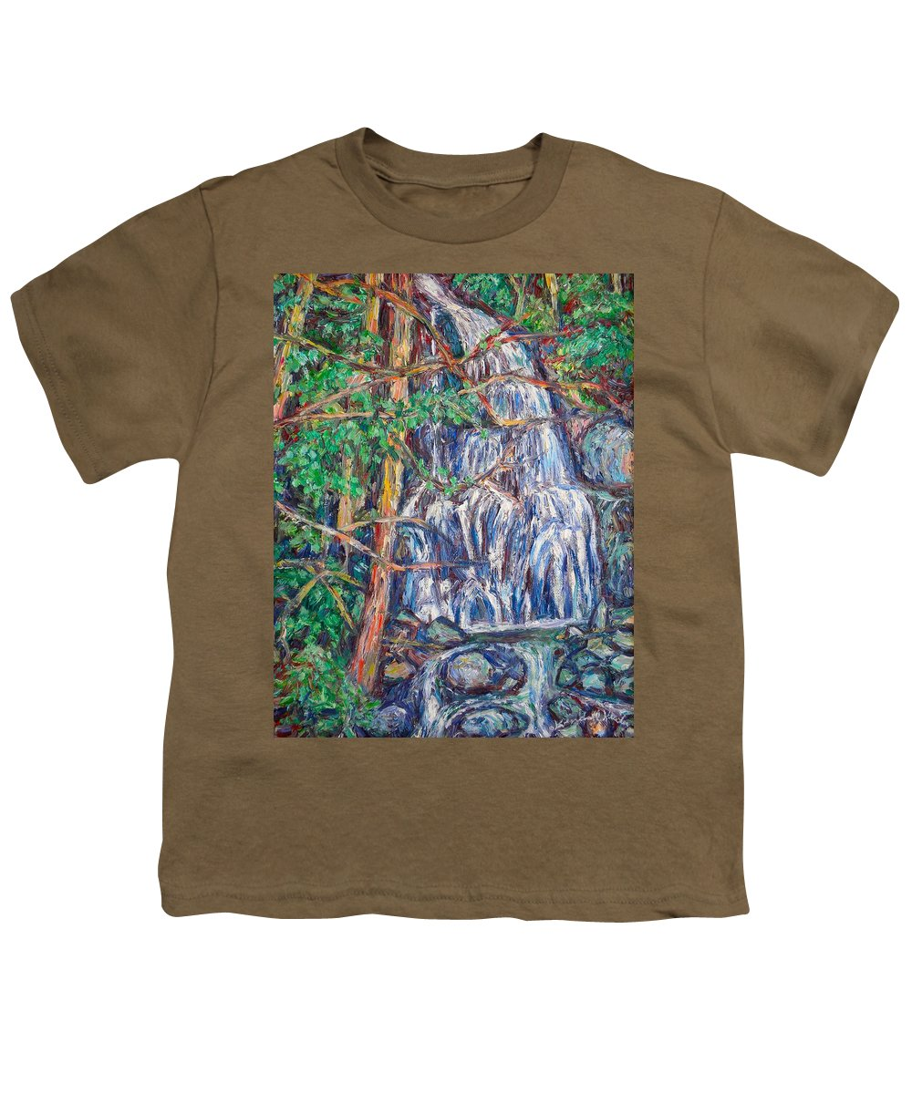 Waterfall Youth T-Shirt featuring the painting Secluded Waterfall by Kendall Kessler