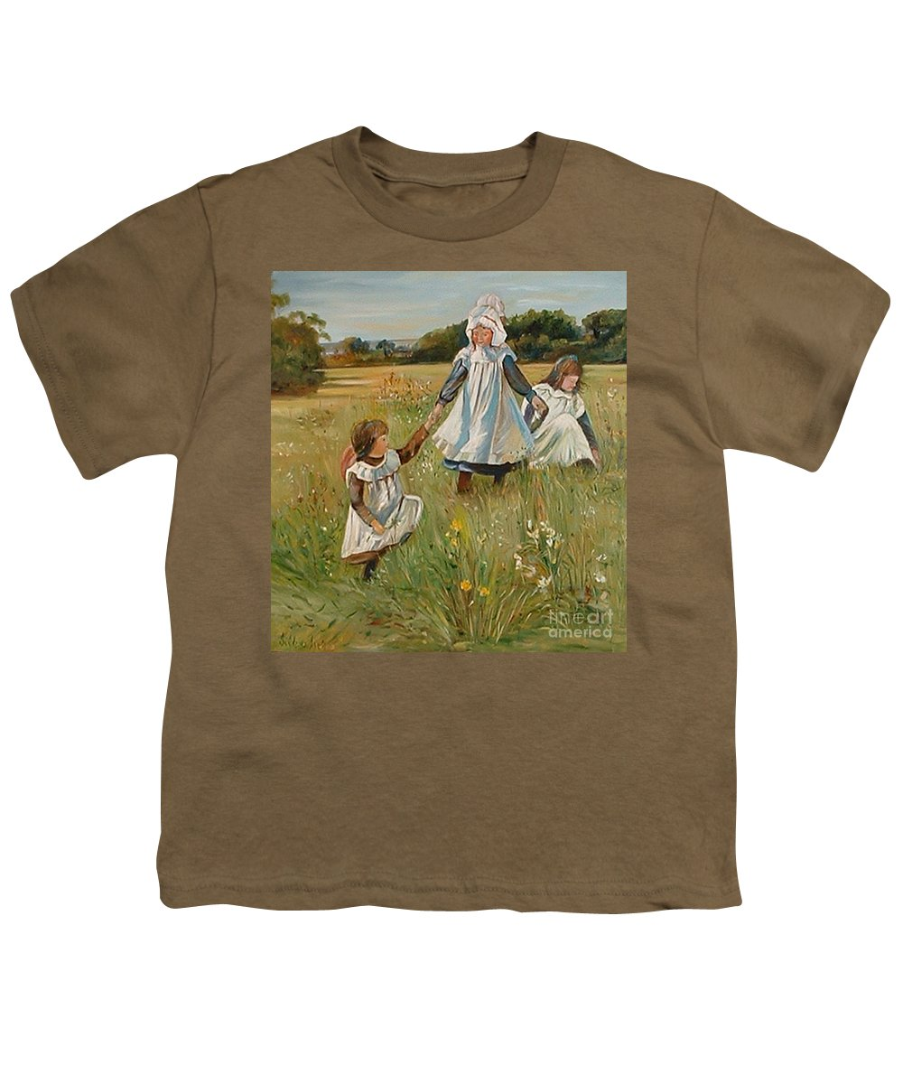 Classic Art Youth T-Shirt featuring the painting Sisters by Silvana Abel