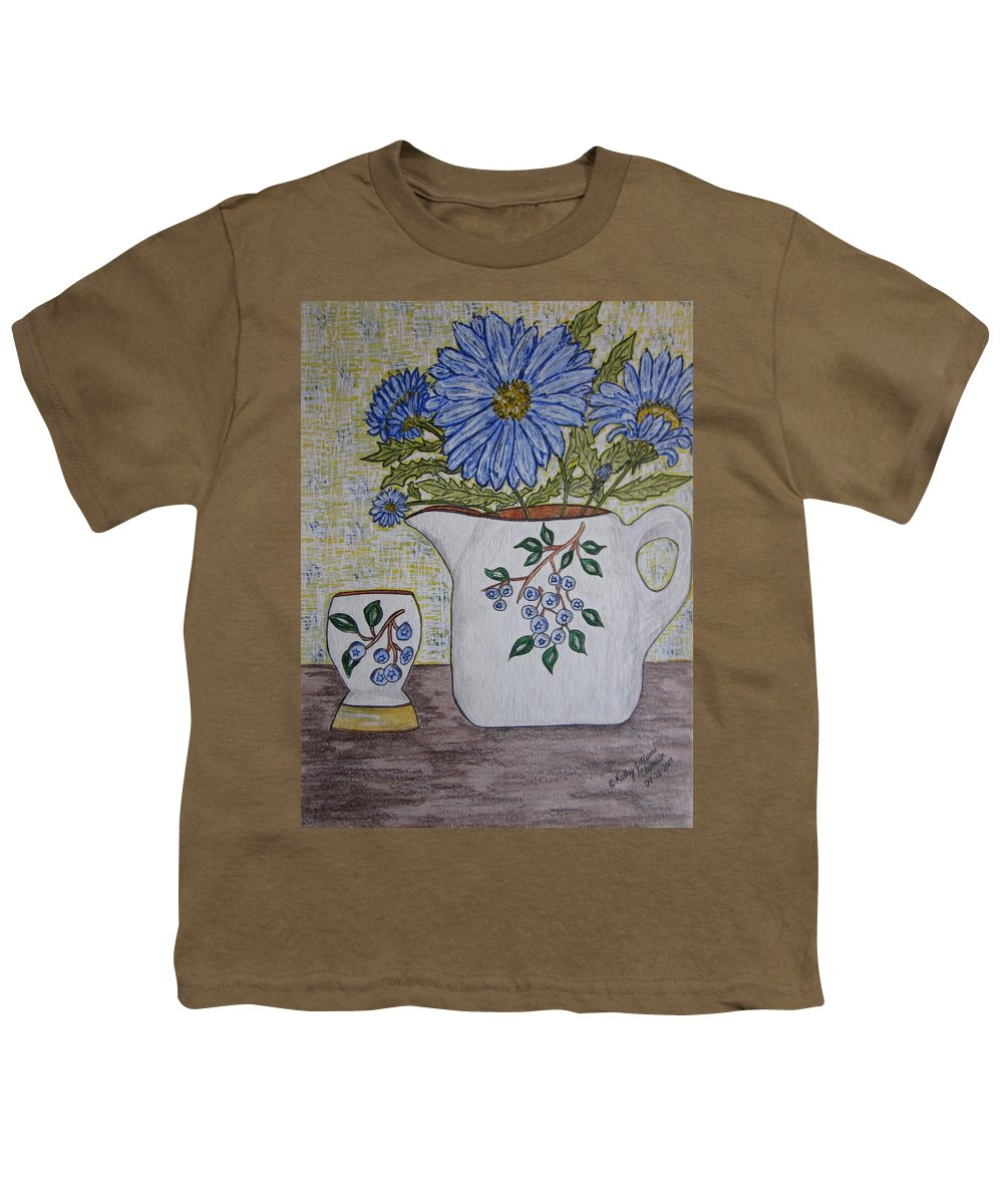 Stangl Blueberry Pottery Youth T-Shirt featuring the painting Stangl Blueberry Pottery by Kathy Marrs Chandler