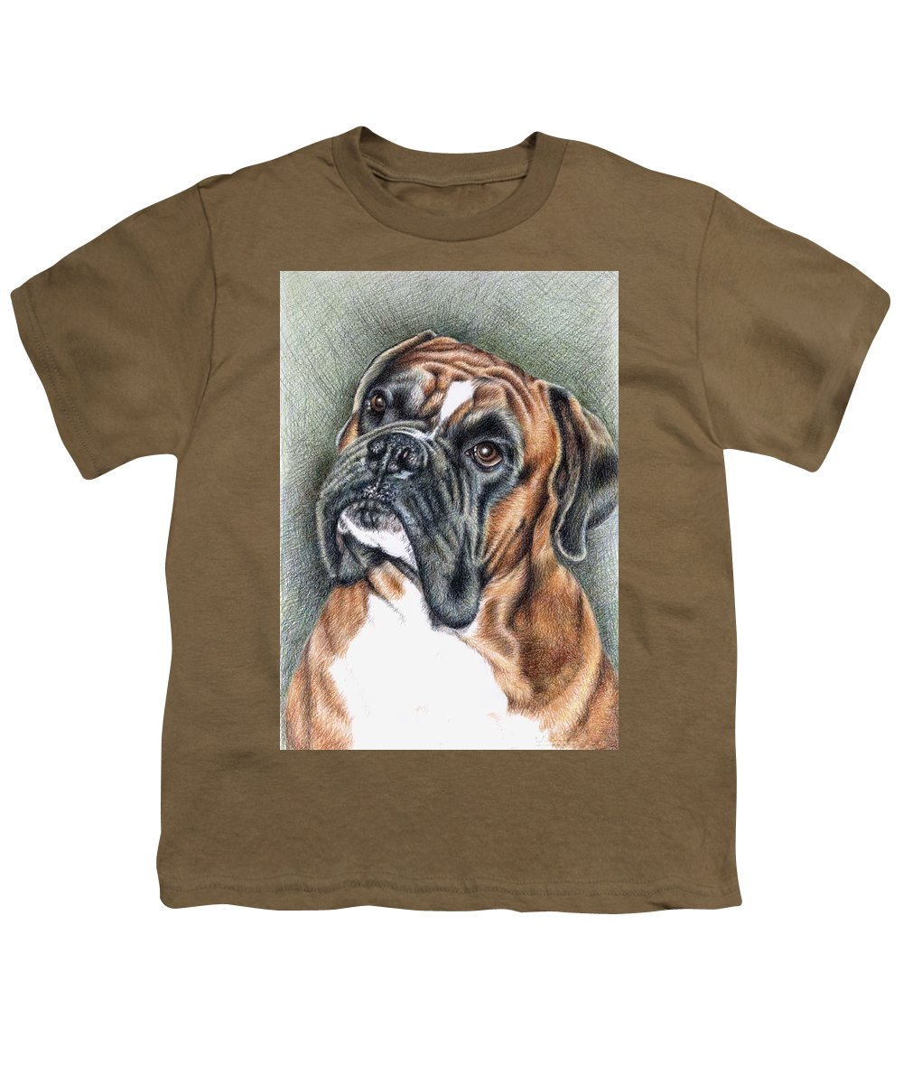 Dog Youth T-Shirt featuring the drawing The Boxer by Nicole Zeug