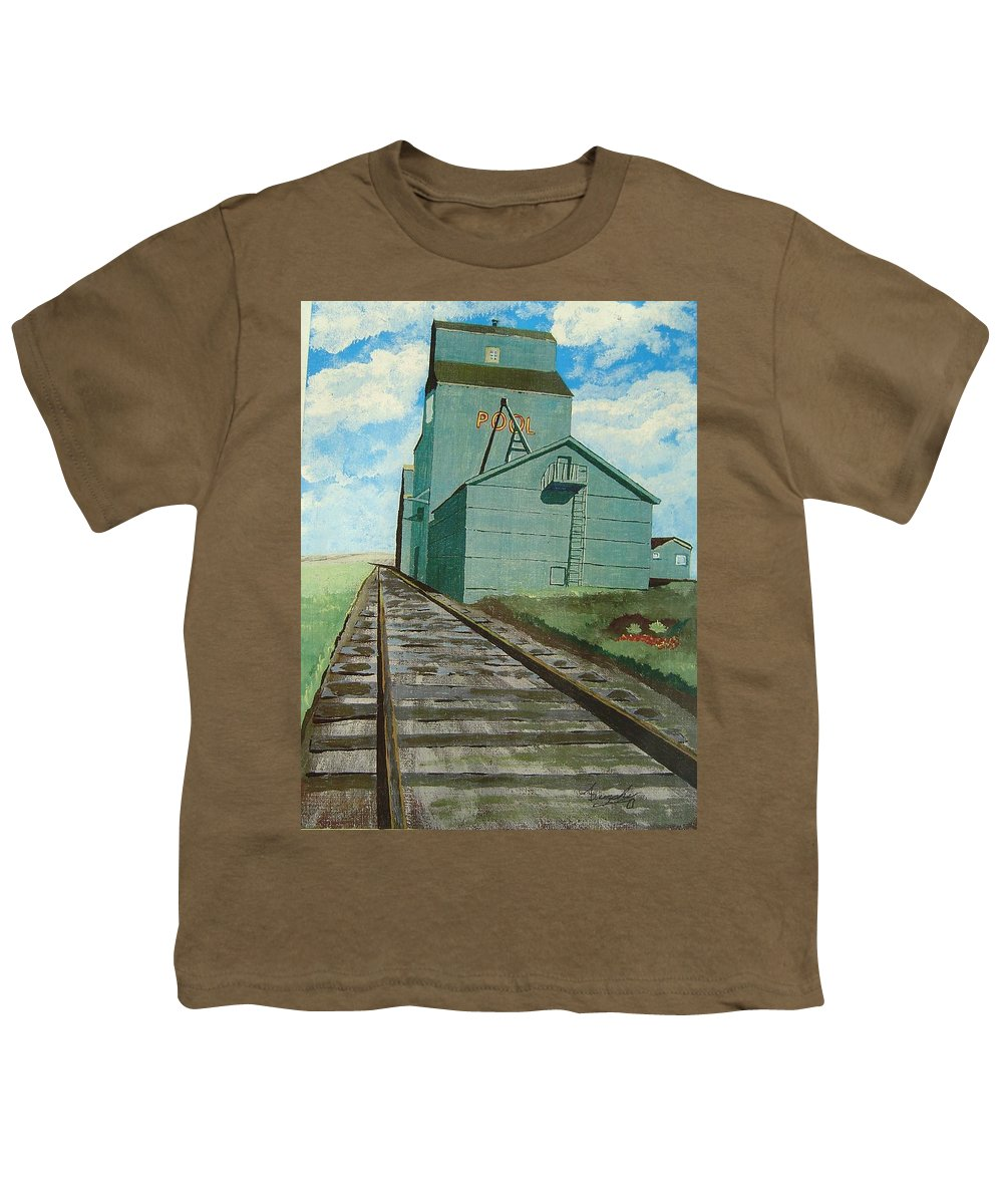Elevator Youth T-Shirt featuring the painting The Grain Elevator by Anthony Dunphy