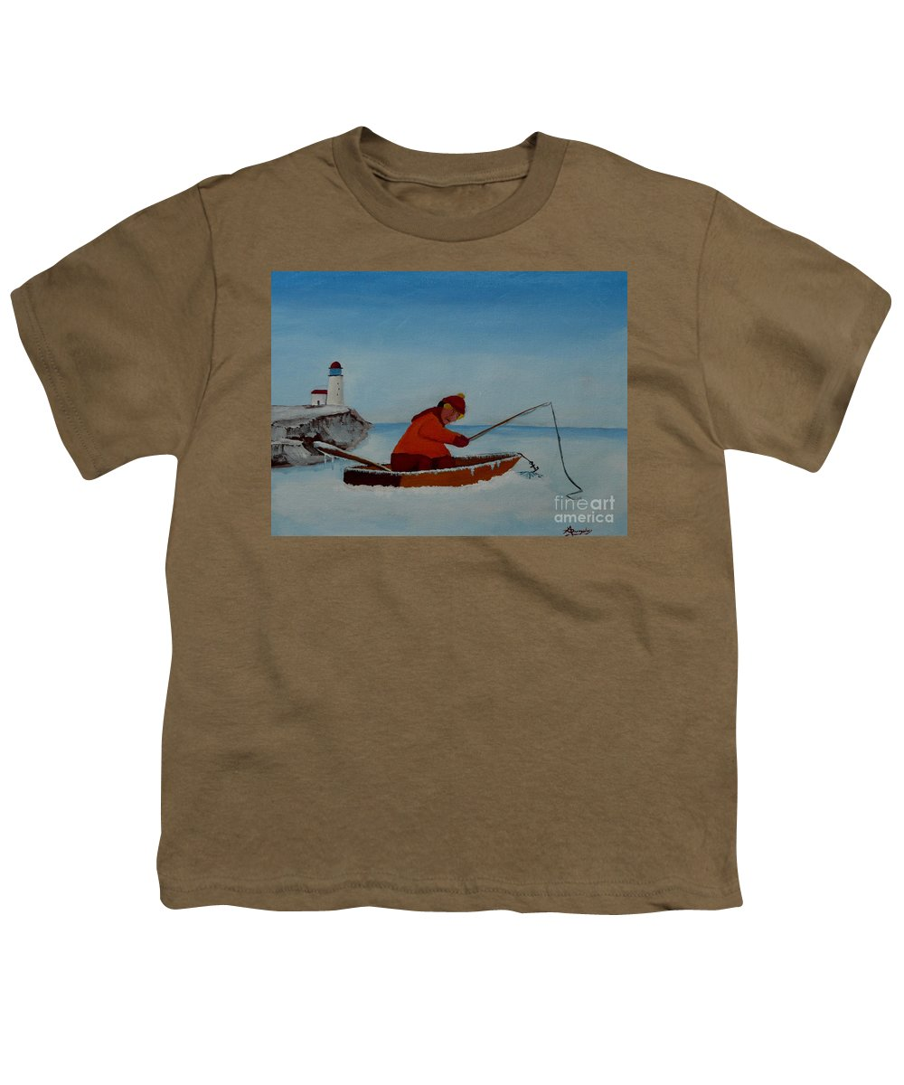 Stupid Youth T-Shirt featuring the painting The Ice Fisherman by Anthony Dunphy