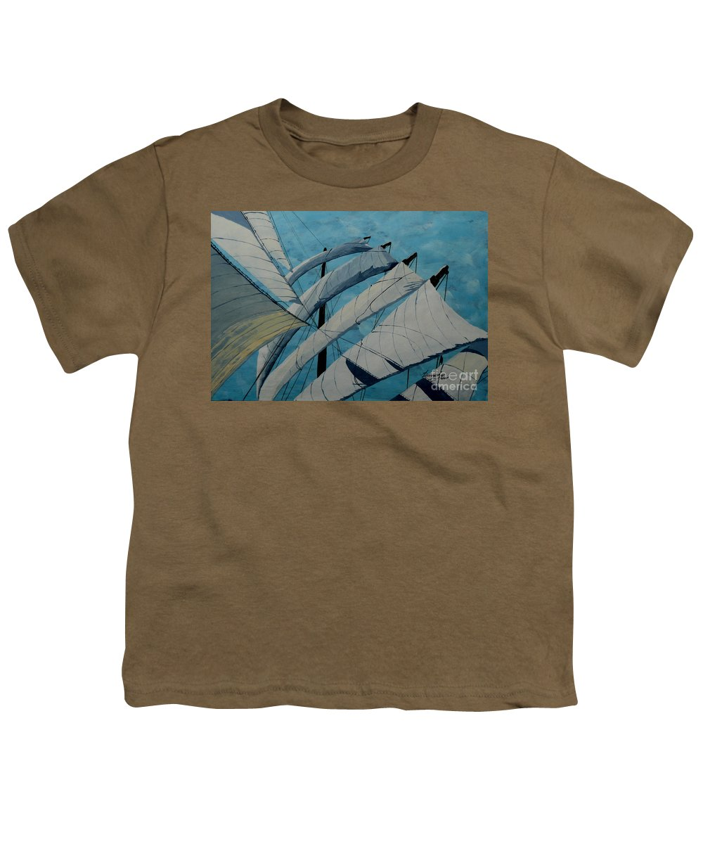 Sails Youth T-Shirt featuring the painting The Tower Of Power by Anthony Dunphy