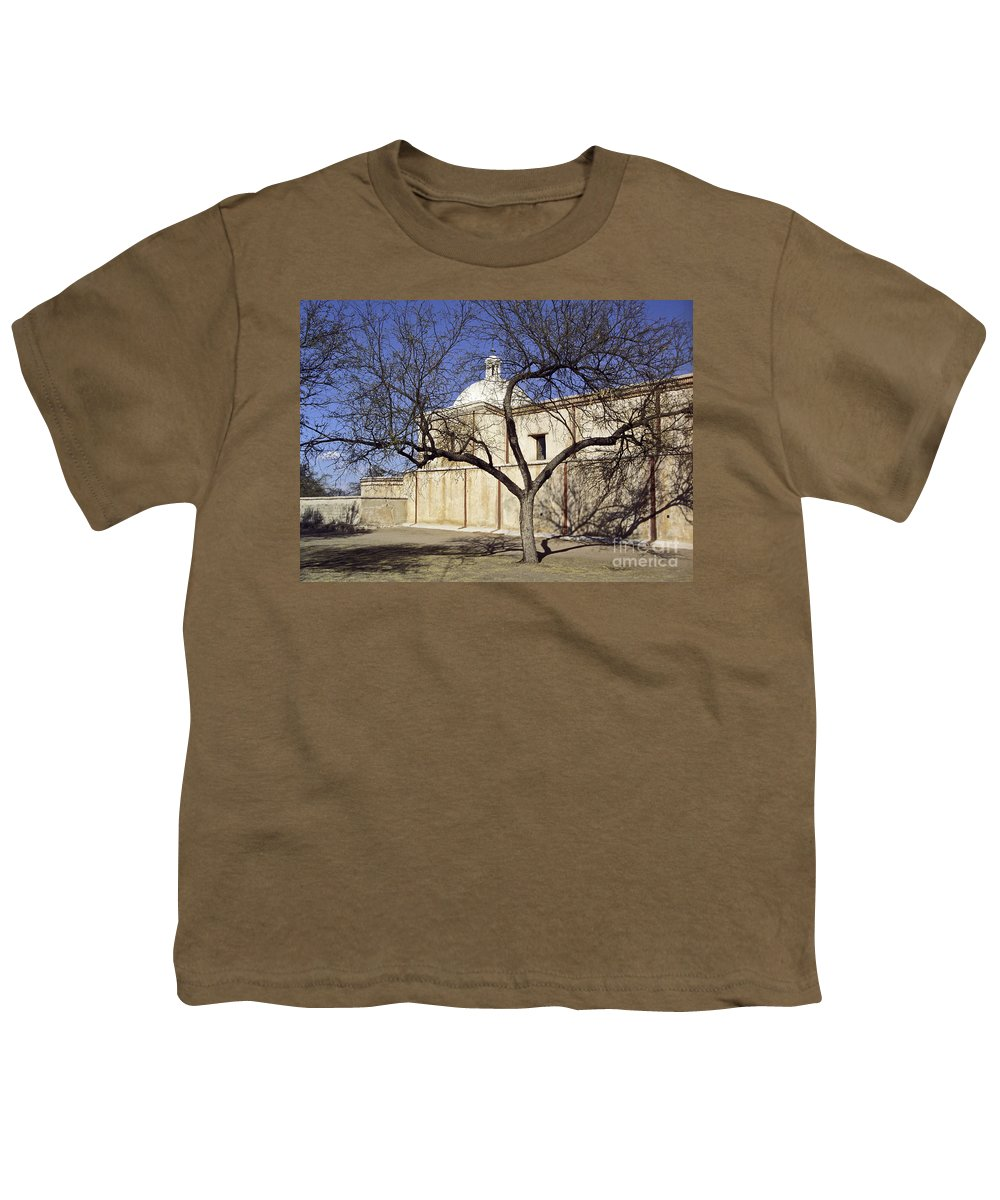 Mission Youth T-Shirt featuring the photograph Tumacacori With Tree by Kathy McClure