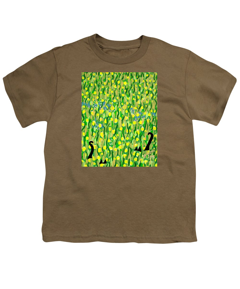 Flowers Youth T-Shirt featuring the painting Two Black Cats by Alan Hogan