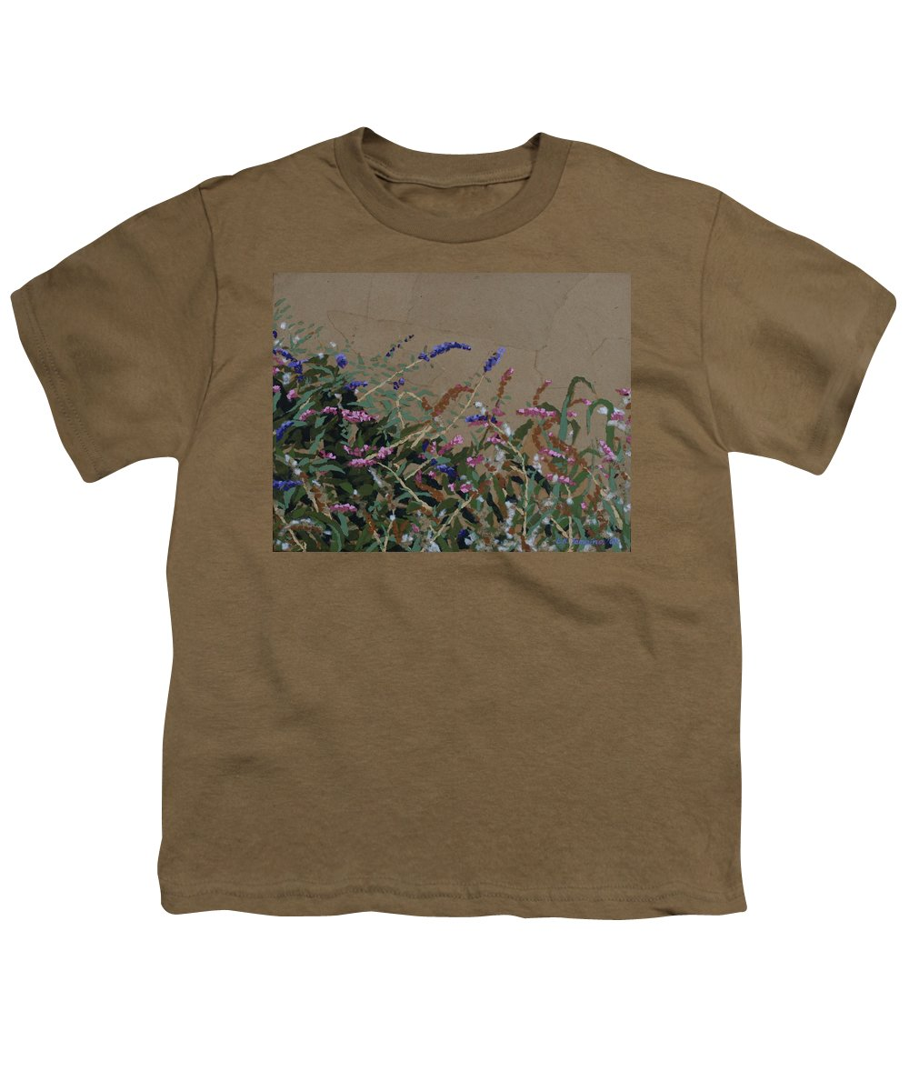 Flowering Butterfly Bush Youth T-Shirt featuring the painting Tyler by Leah Tomaino