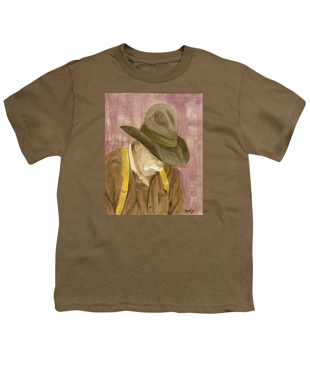 Western Youth T-Shirt featuring the painting Walter by Regan J Smith