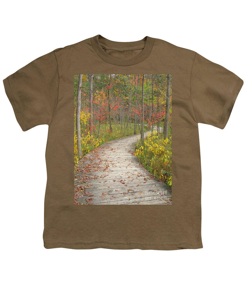 Autumn Youth T-Shirt featuring the photograph Winding Woods Walk by Ann Horn