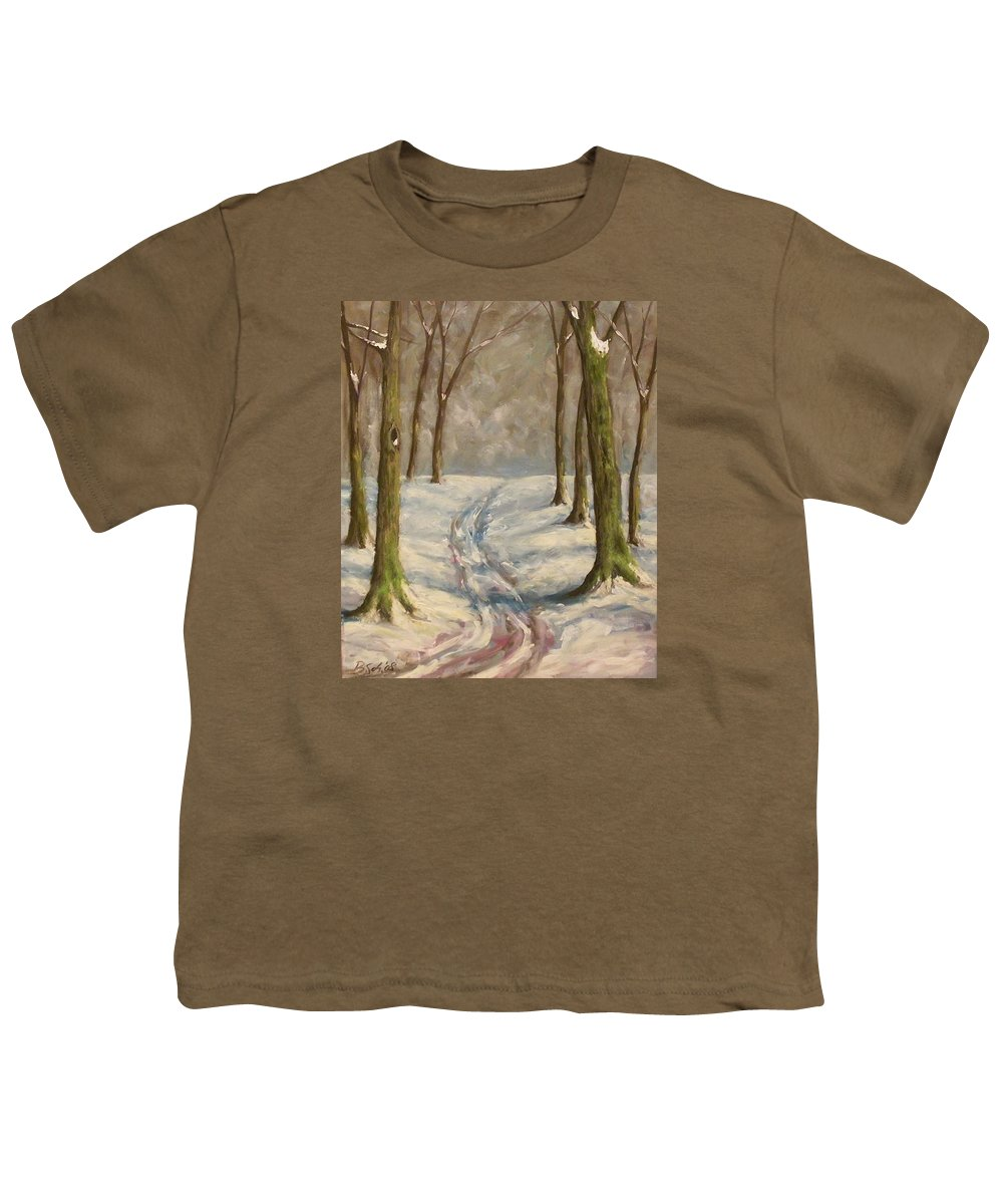 Winter Youth T-Shirt featuring the painting Winter Day by Birgit Schnapp