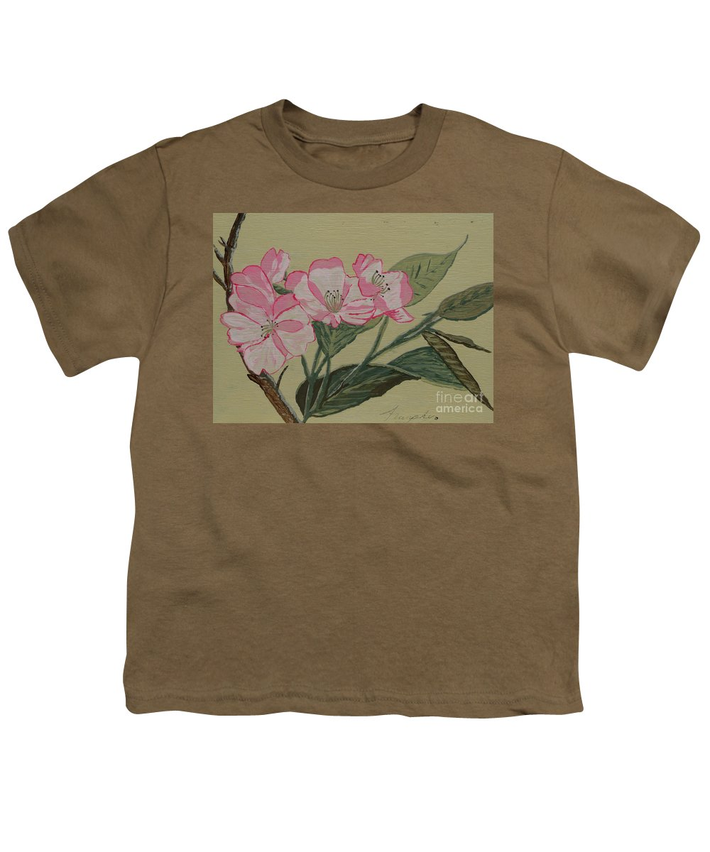 Yamazakura Youth T-Shirt featuring the painting Yamazakura Or Cherry Blossom by Anthony Dunphy