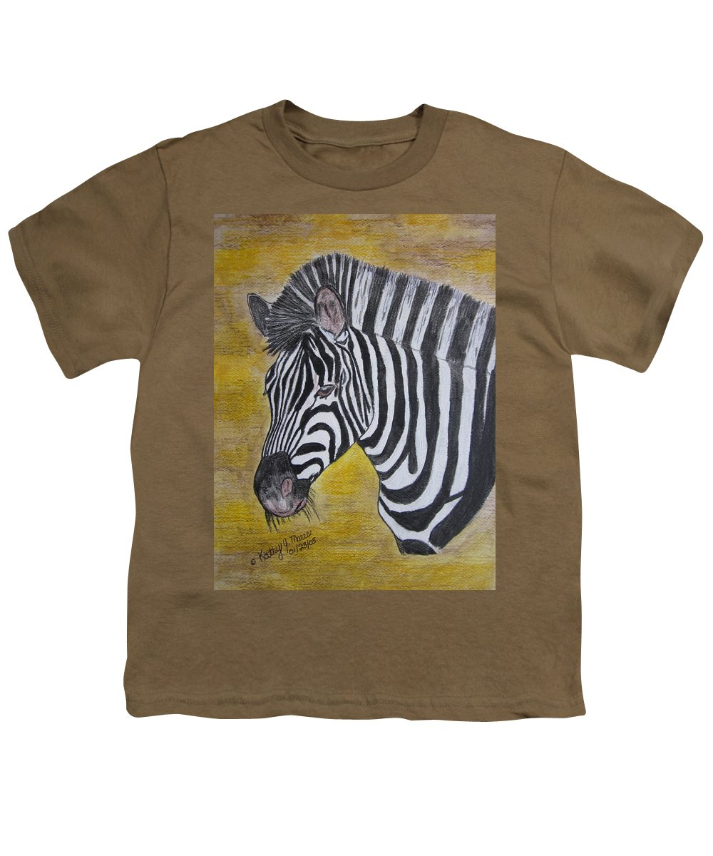 Zebra Youth T-Shirt featuring the painting Zebra Portrait by Kathy Marrs Chandler