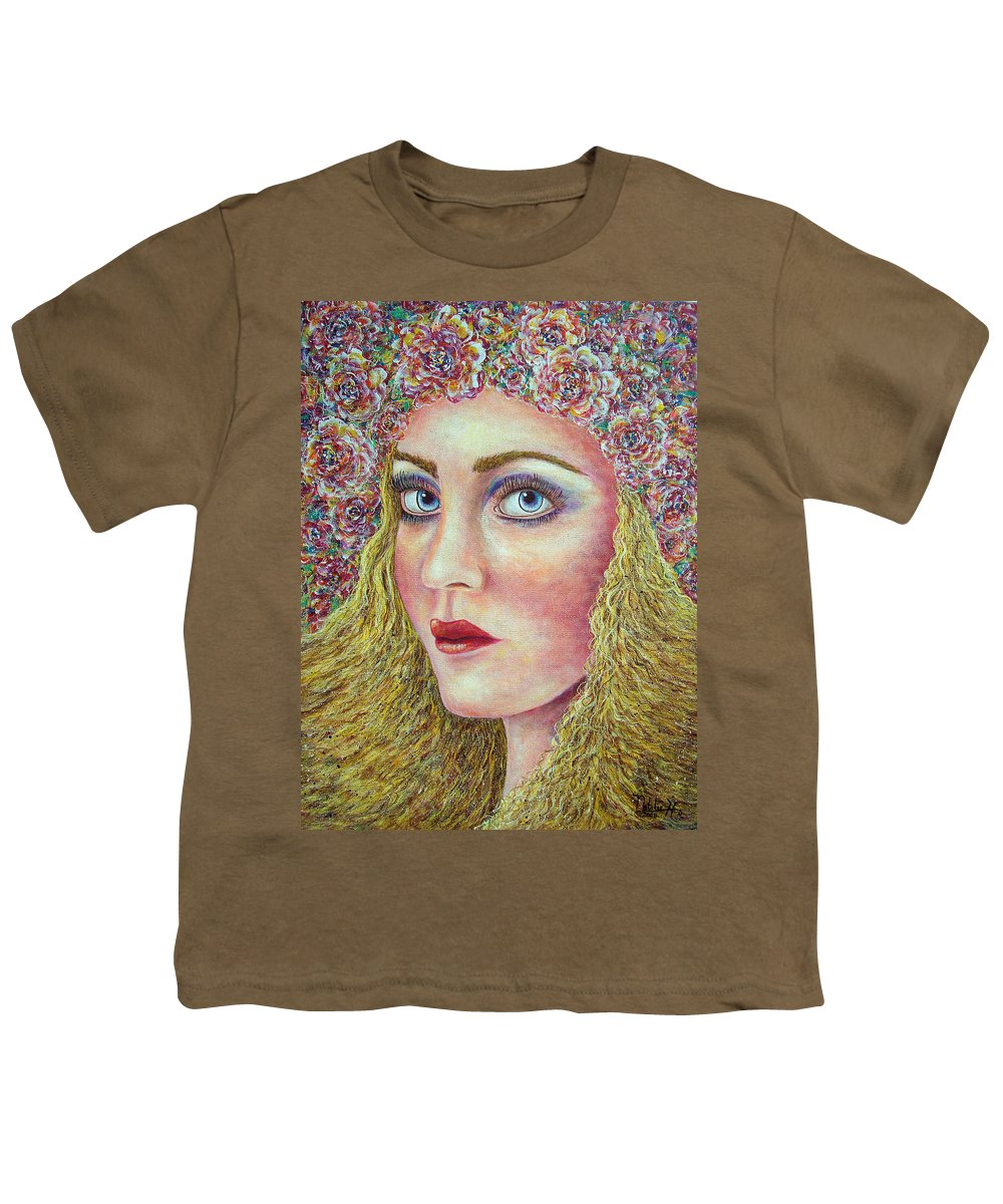 Woman Youth T-Shirt featuring the painting  The Flower Girl by Natalie Holland