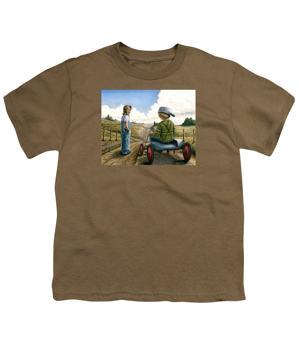Children Playing Youth T-Shirt featuring the painting Down Hill Racer by Lance Anderson