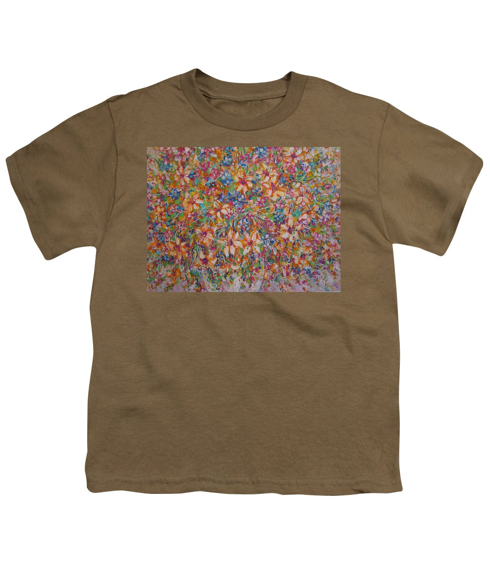 Flowers Youth T-Shirt featuring the painting Flower Galaxy by Natalie Holland