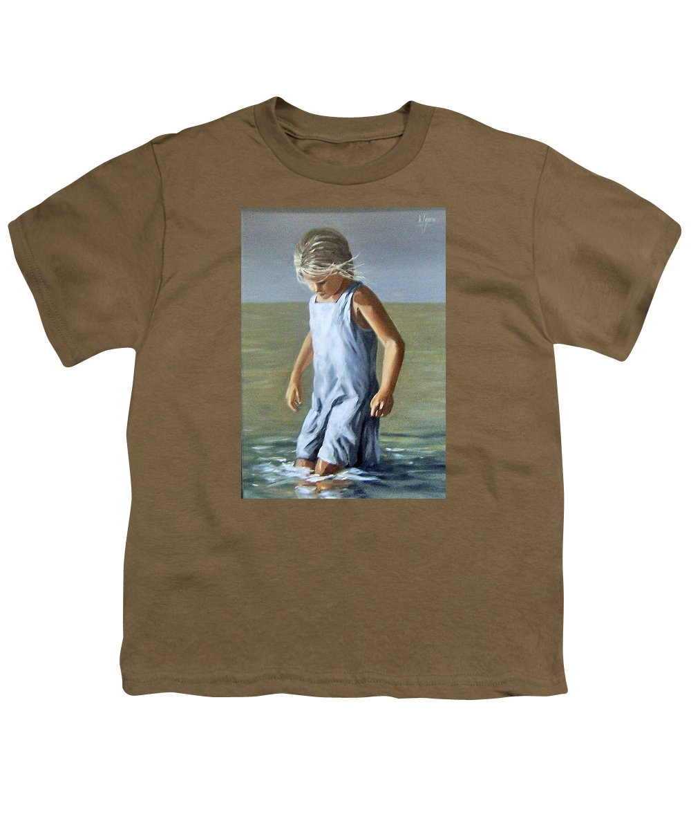 Girl Children Reflection Water Sea Figurative Portrait Youth T-Shirt featuring the painting Girl by Natalia Tejera