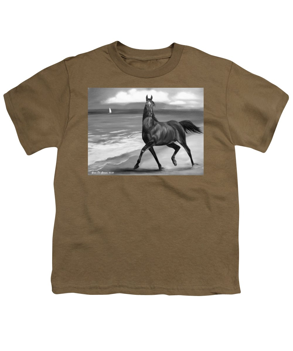Horses Youth T-Shirt featuring the painting Horses In Paradise Dance by Gina De Gorna
