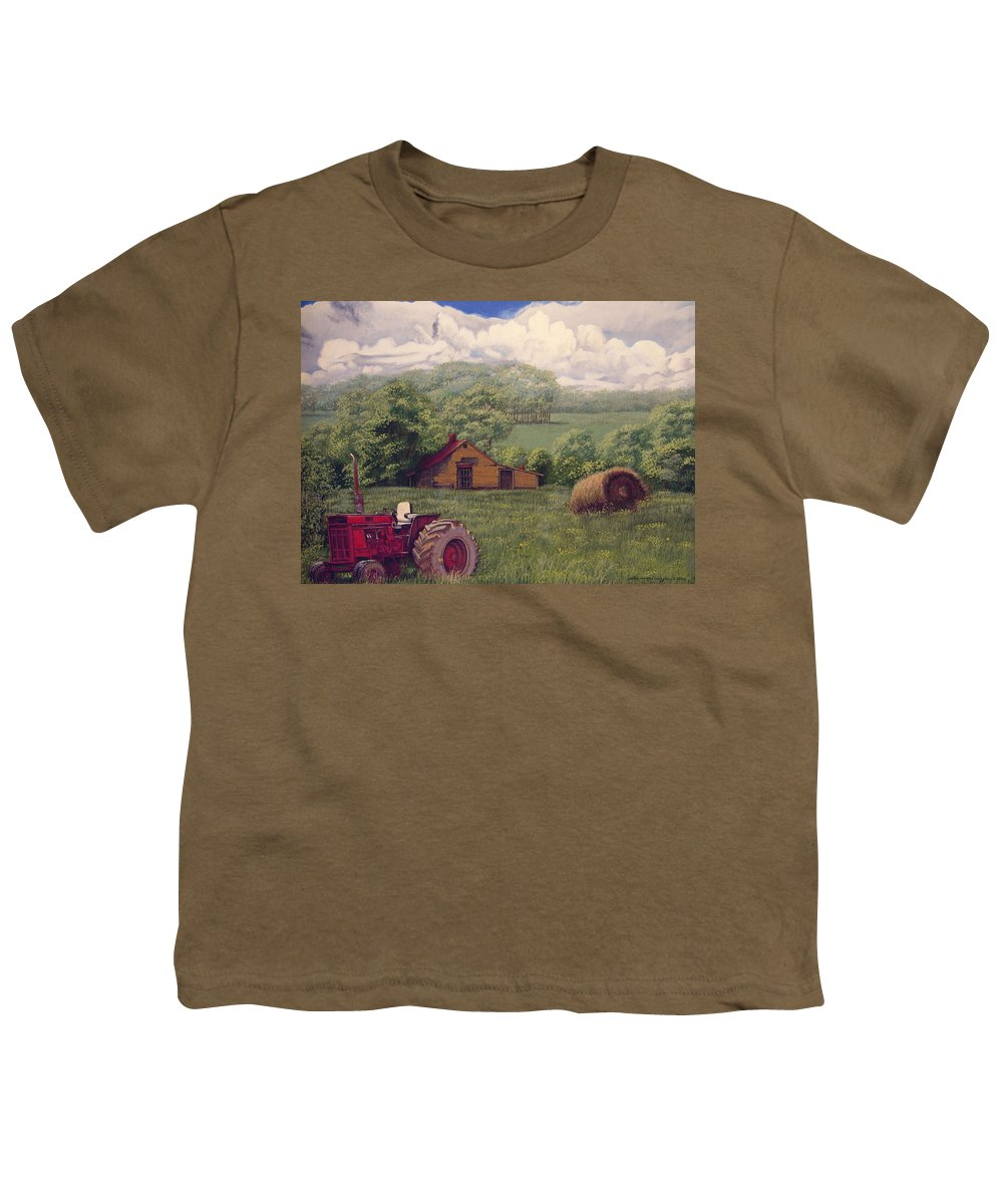 Landscape Youth T-Shirt featuring the painting Idle In Godfrey Georgia by Peter Muzyka