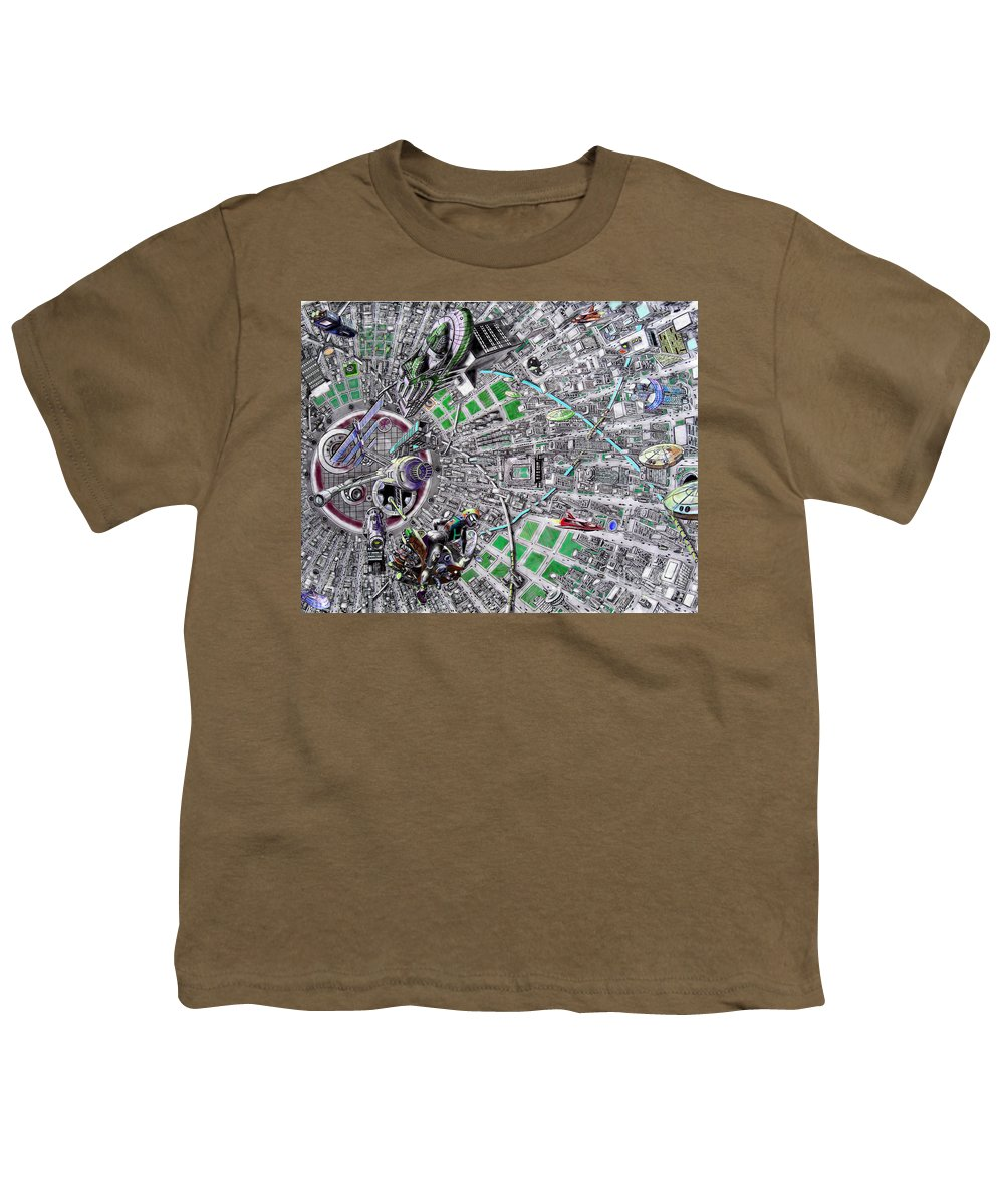 Landscape Youth T-Shirt featuring the drawing Inside Orbital City by Murphy Elliott