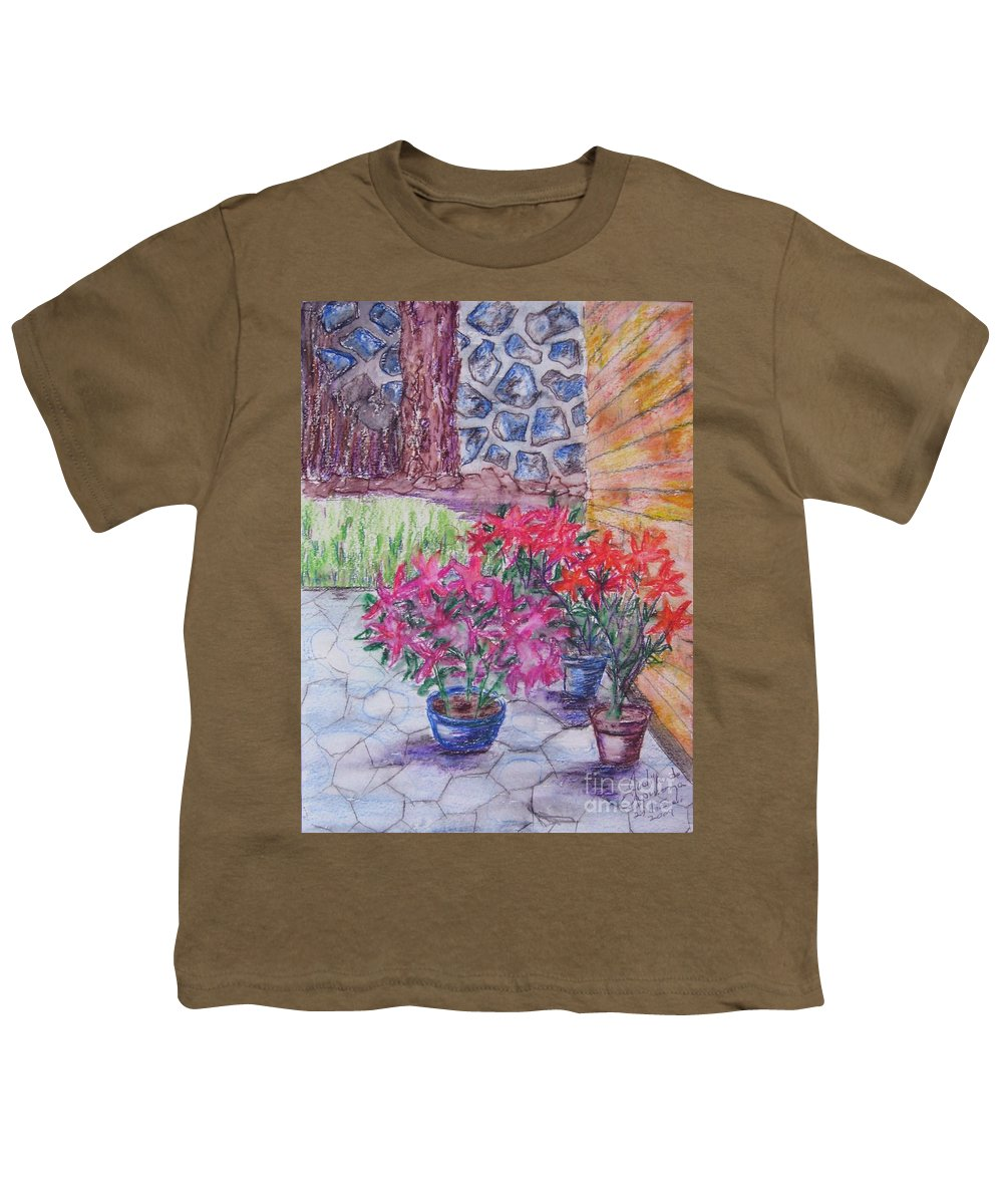 Poinsettias Youth T-Shirt featuring the painting Poinsettias - Gifted by Judith Espinoza