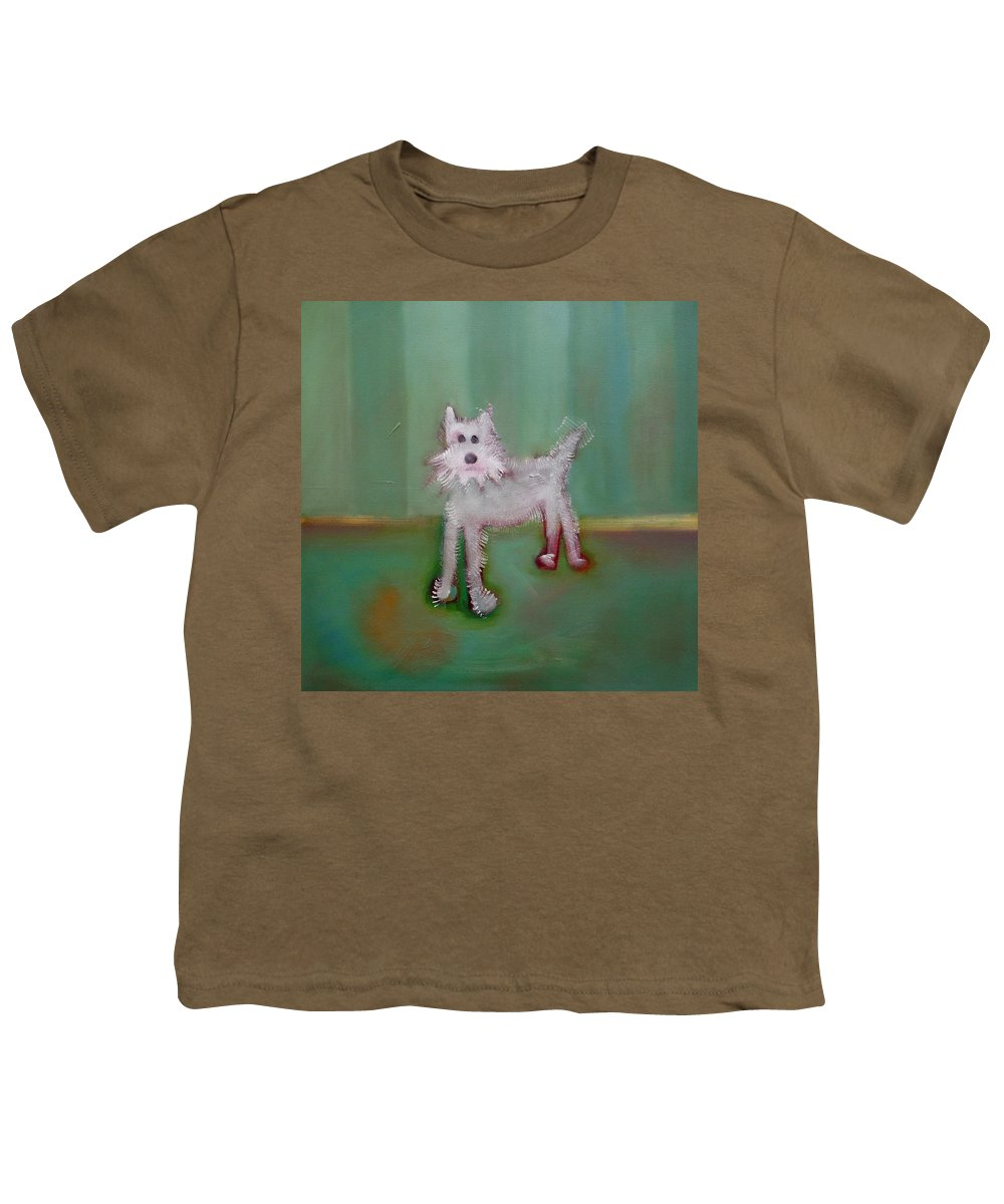 White Puppy Youth T-Shirt featuring the painting Snowy by Charles Stuart