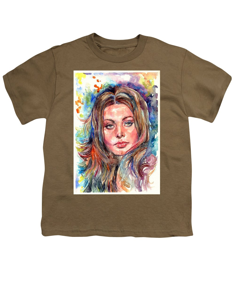 Sophia Youth T-Shirt featuring the painting Sophia Loren Painting by Suzann Sines