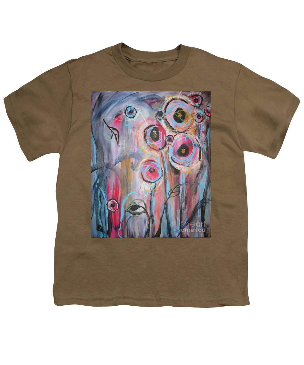Aabstract Paintings Youth T-Shirt featuring the painting Too Many Temptations by Seon-Jeong Kim