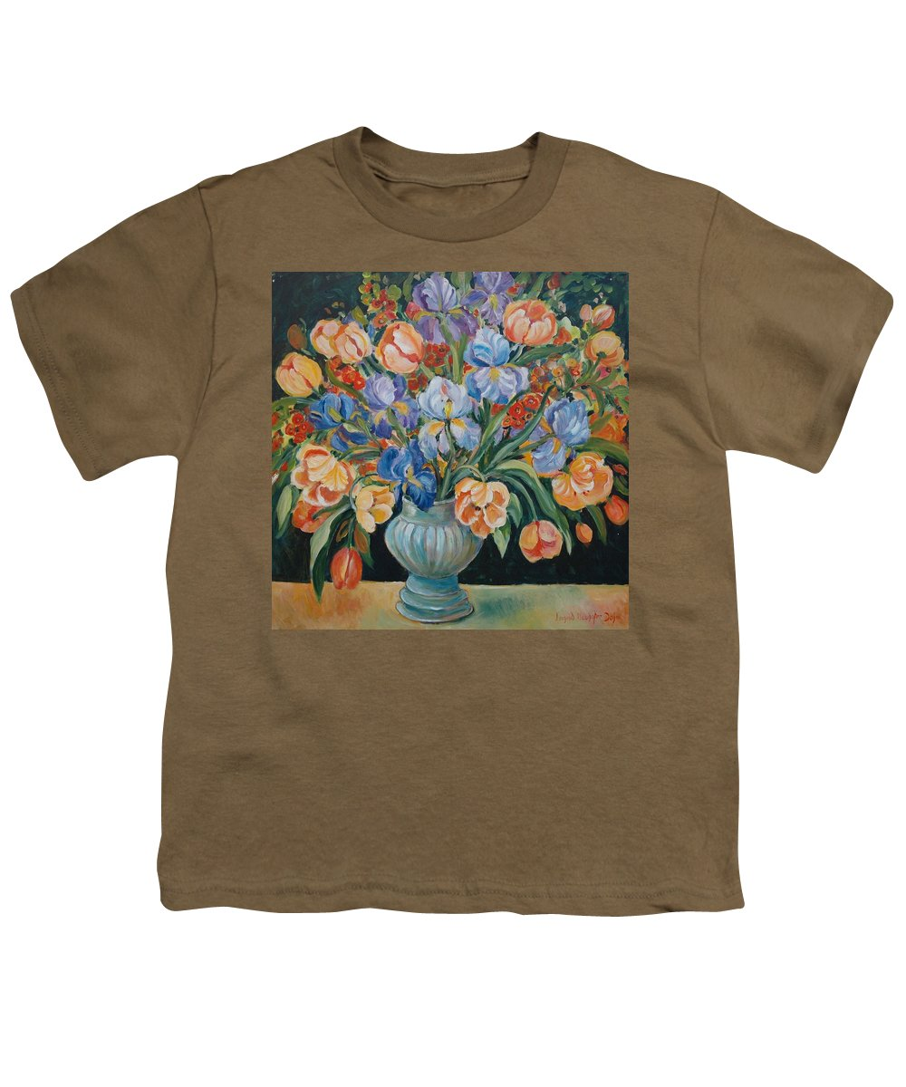 Still Life Youth T-Shirt featuring the painting Tulips by Alexandra Maria Ethlyn Cheshire