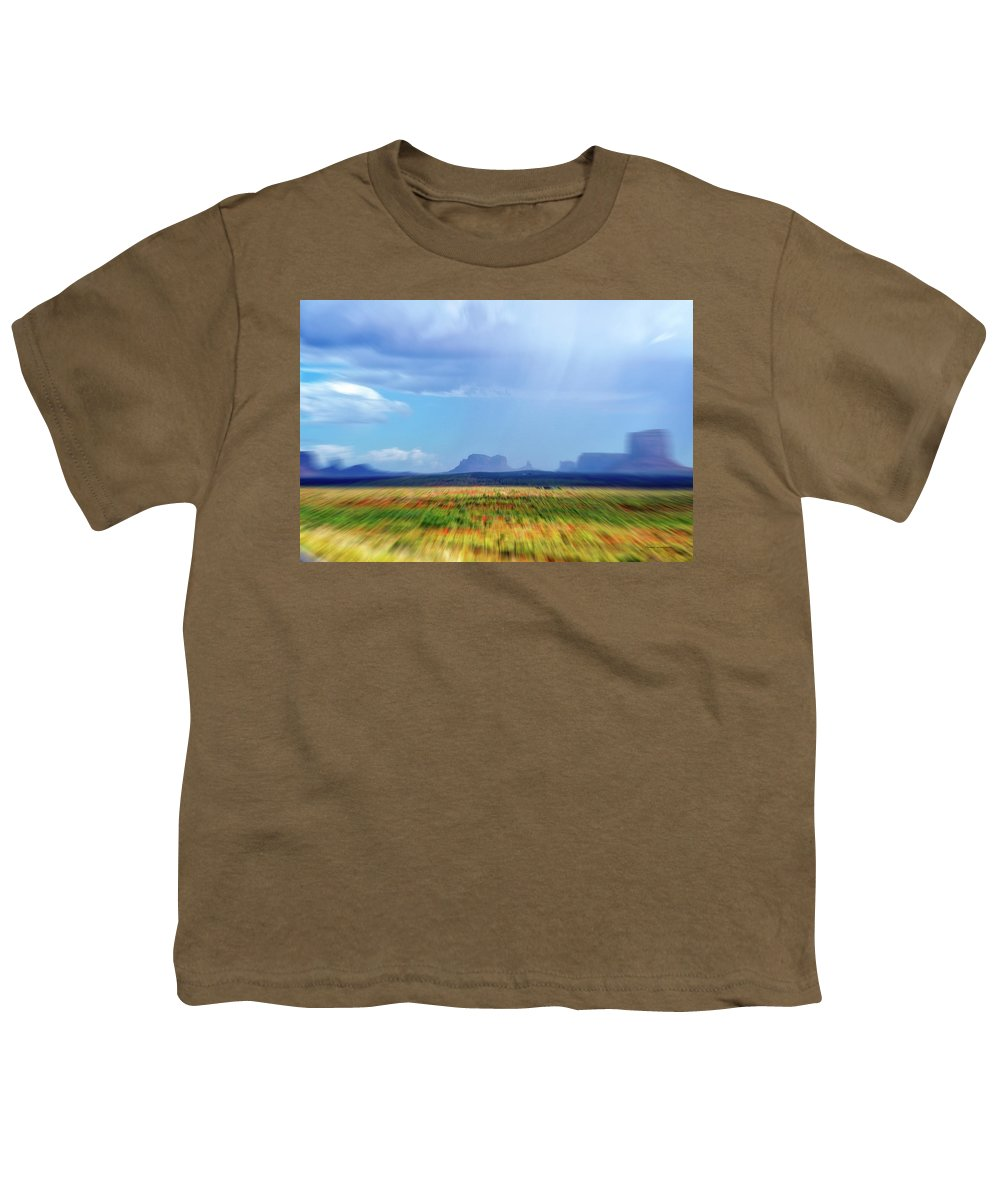 Monument Valley Youth T-Shirt featuring the mixed media 4 Wheeling With The Storm Cell Approaching Monument Valley 06 4 by Thomas Woolworth