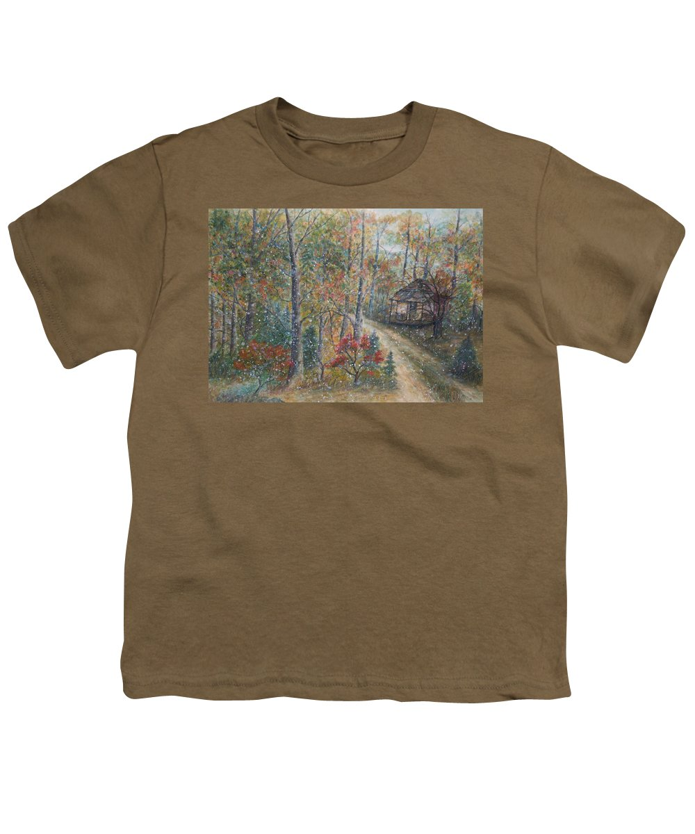 Country Road; Old House; Trees Youth T-Shirt featuring the painting A Bend In The Road by Ben Kiger