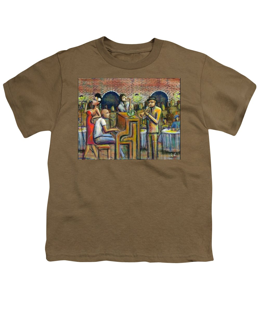 Jazz Youth T-Shirt featuring the painting A Damn Good Night by Nelson Perez