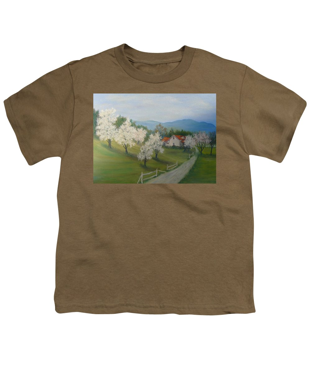 Landscape; Spring; Mountains; Country Road; House Youth T-Shirt featuring the painting A Day In The Country by Ben Kiger