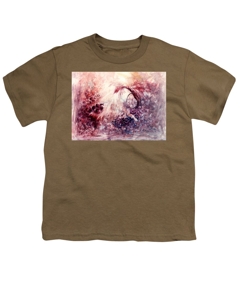 Grapes Youth T-Shirt featuring the painting A Grape Fairy Tale by Rachel Christine Nowicki