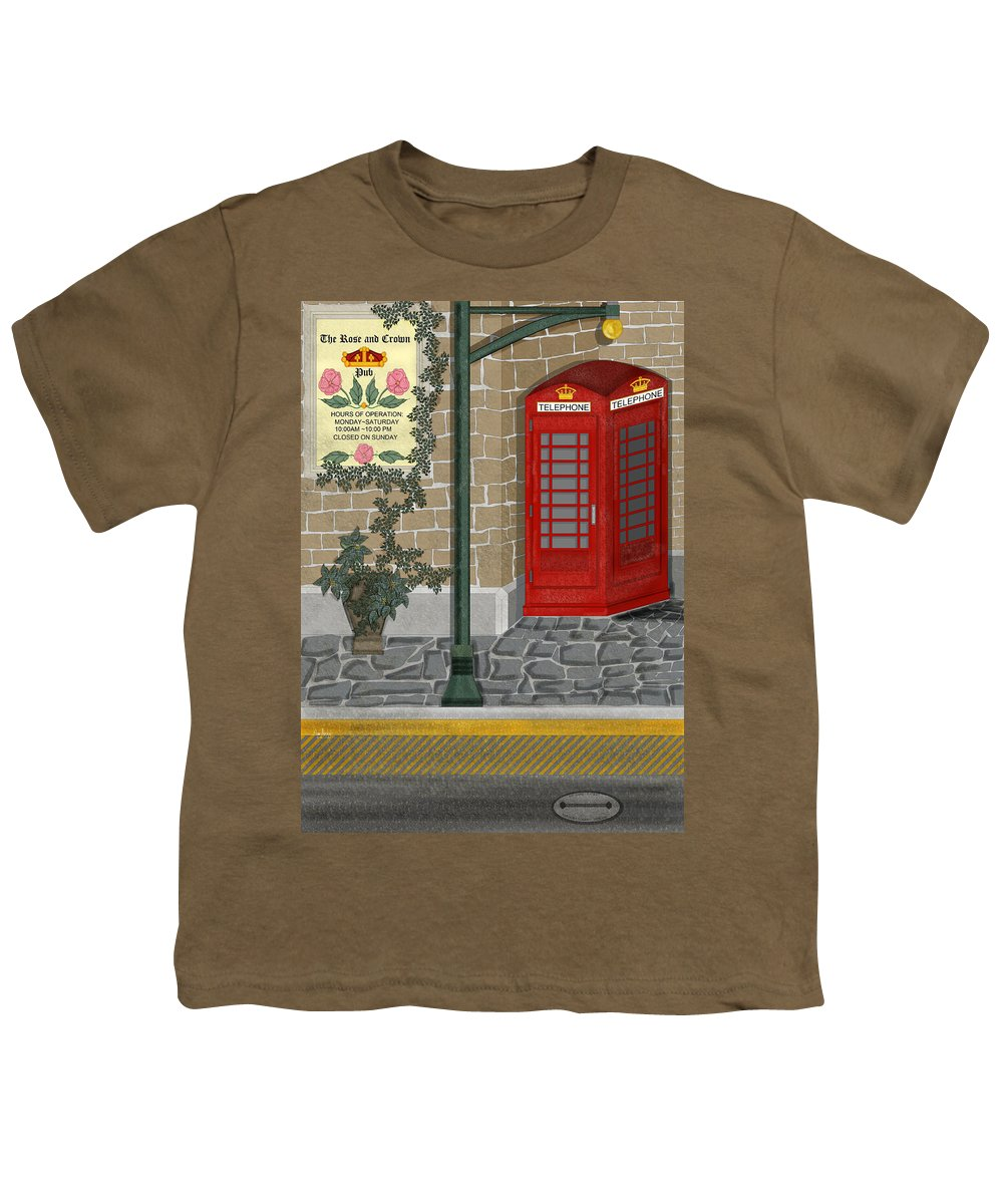 Cityscape Youth T-Shirt featuring the painting A Merry Old Corner In London by Anne Norskog