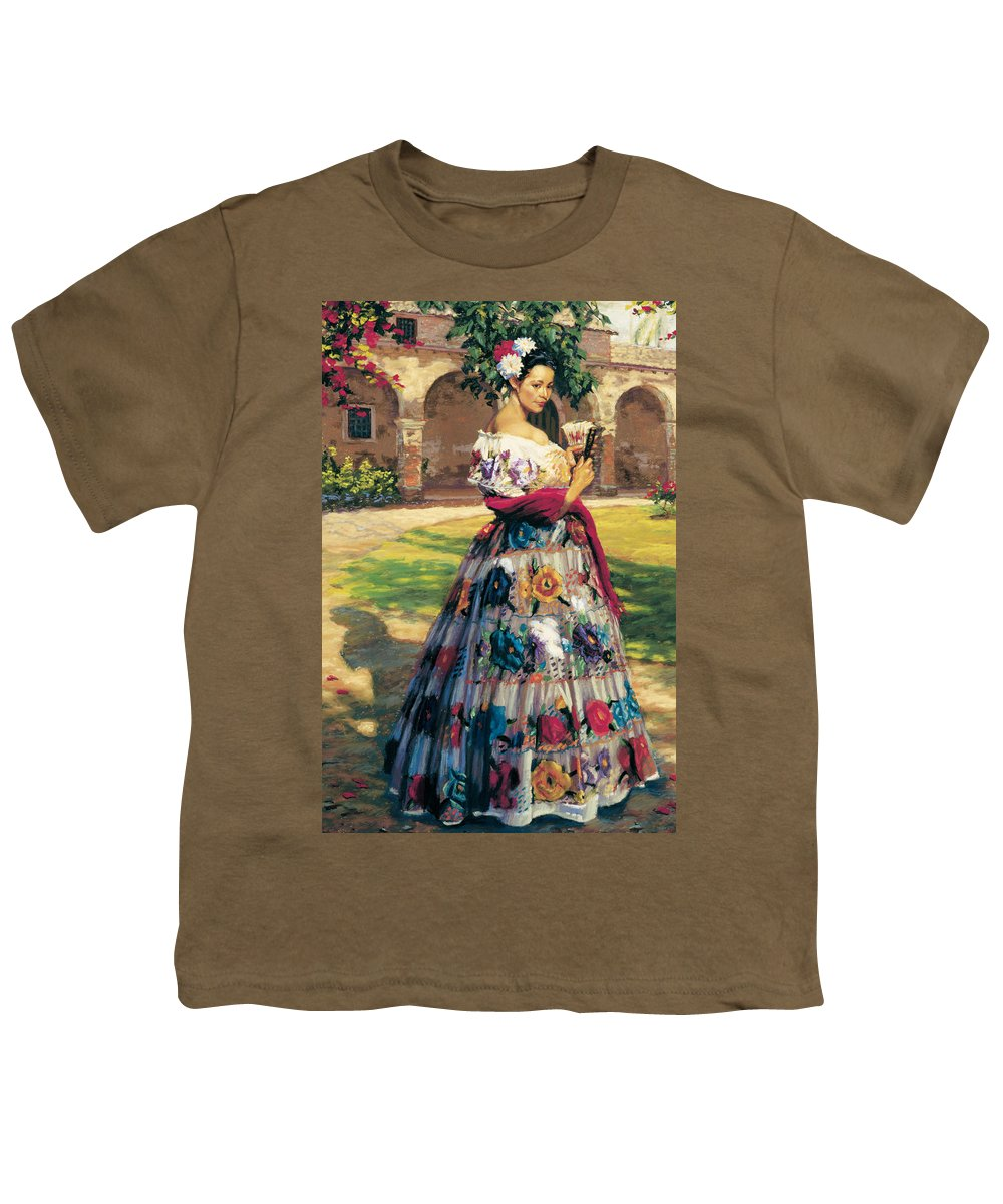 Woman Elaborately Embroidered Mexican Dress. Background Mission San Juan Capistrano. Youth T-Shirt featuring the painting Al Aire Libre by Jean Hildebrant